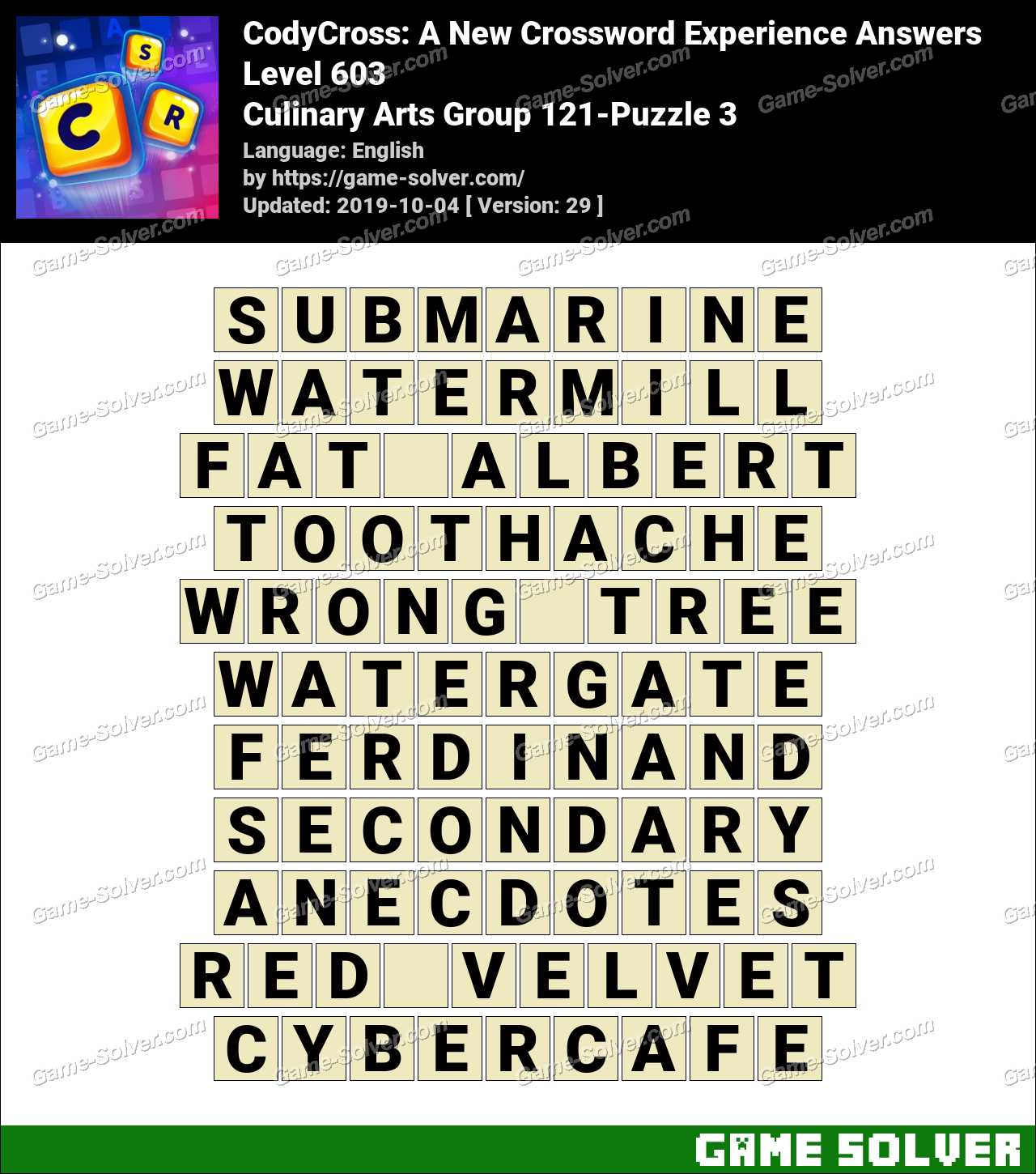 CodyCross Culinary Arts Group 121-Puzzle 3 Answers