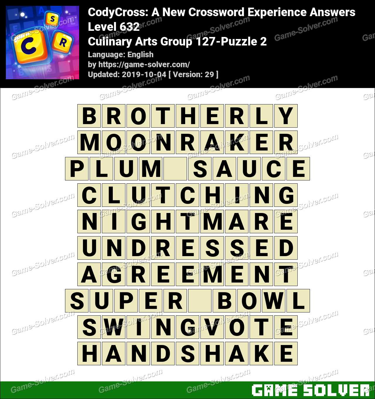 CodyCross Culinary Arts Group 127-Puzzle 2 Answers