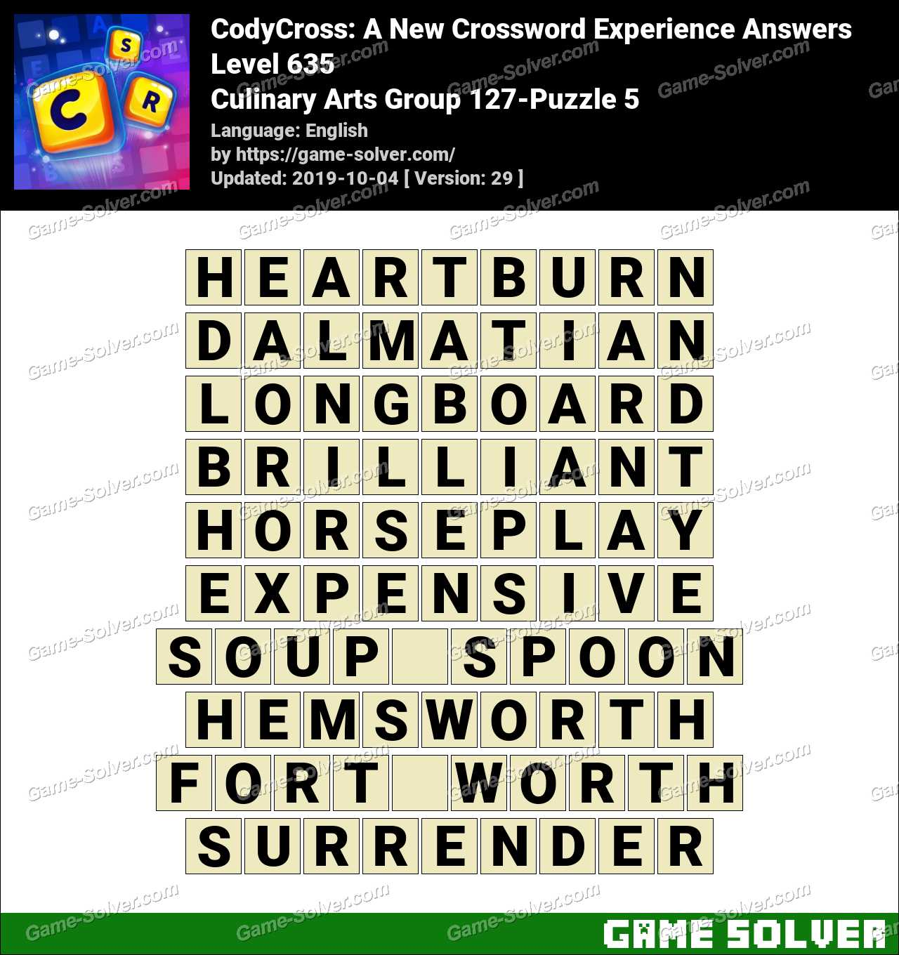 CodyCross Culinary Arts Group 127-Puzzle 5 Answers