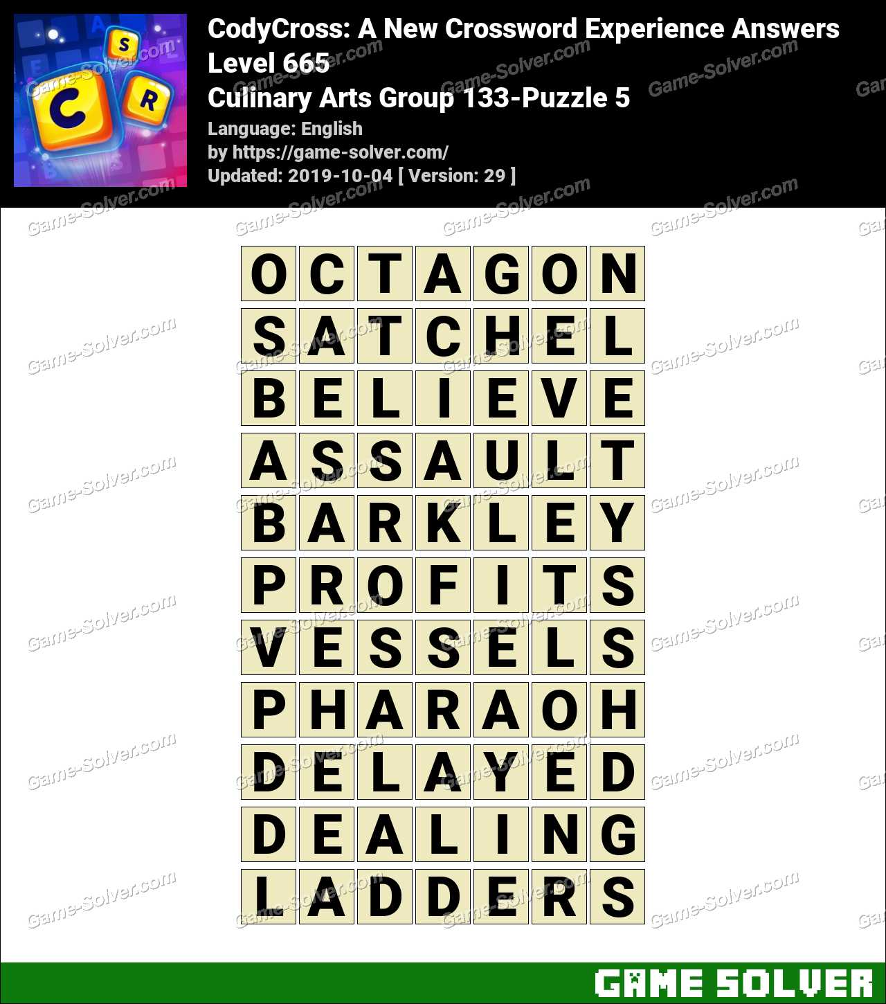 CodyCross Culinary Arts Group 133-Puzzle 5 Answers