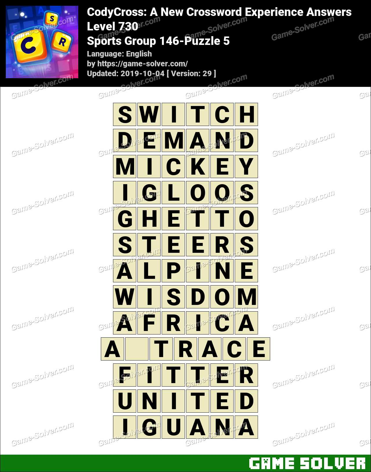 CodyCross Sports Group 146-Puzzle 5 Answers