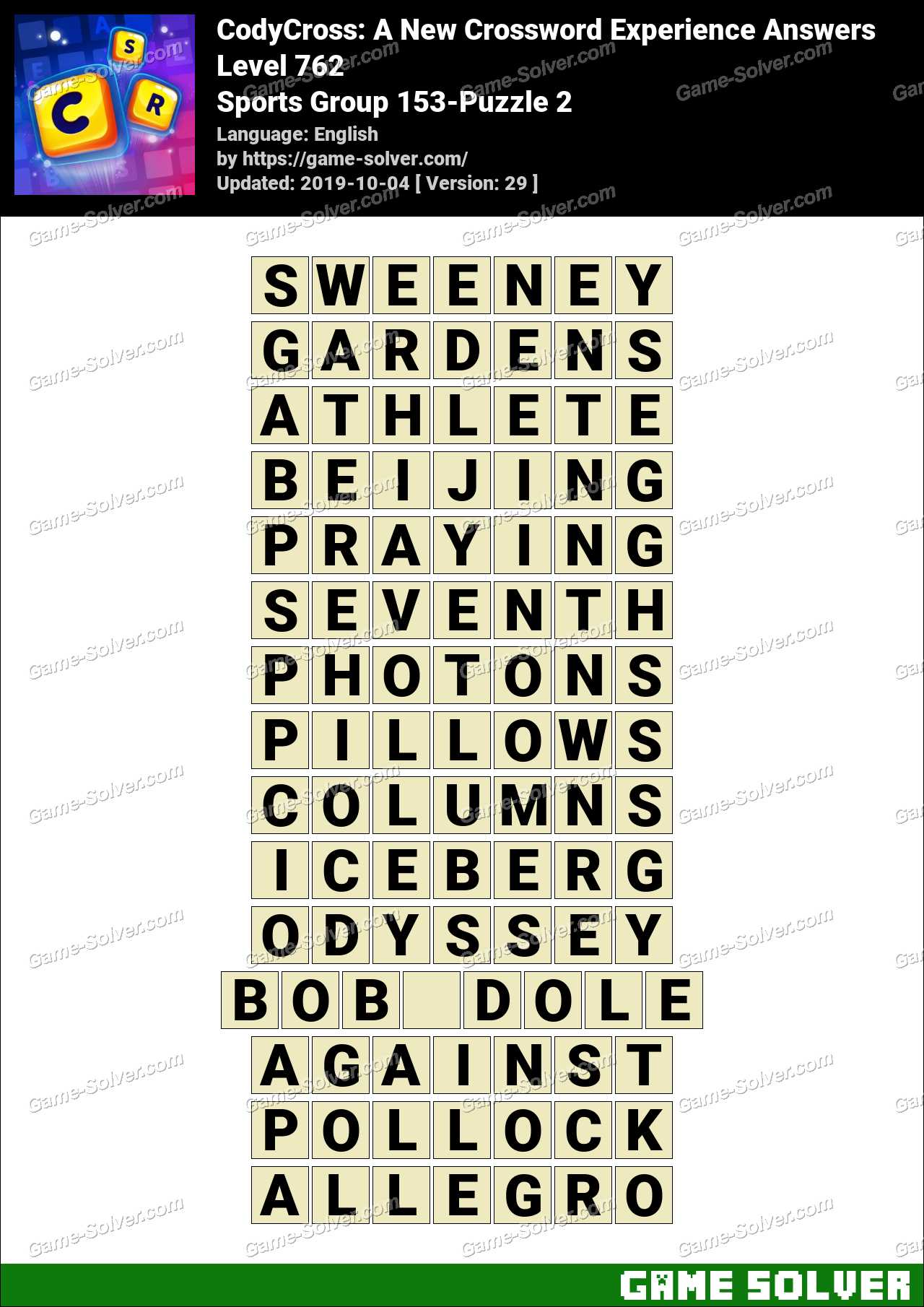 CodyCross Sports Group 153-Puzzle 2 Answers
