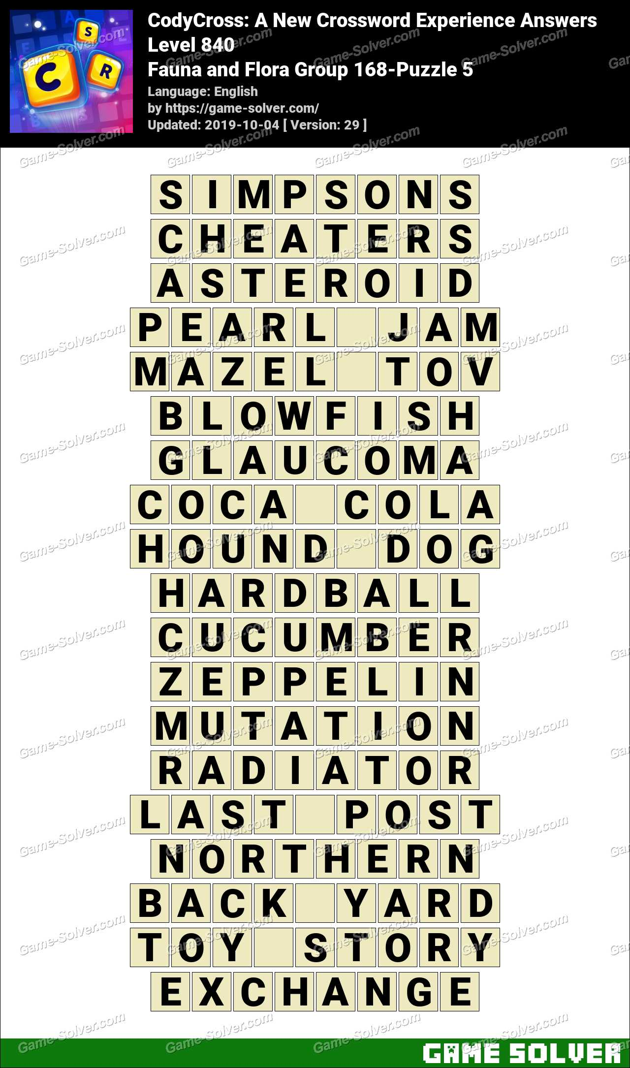 CodyCross Fauna and Flora Group 168-Puzzle 5 Answers