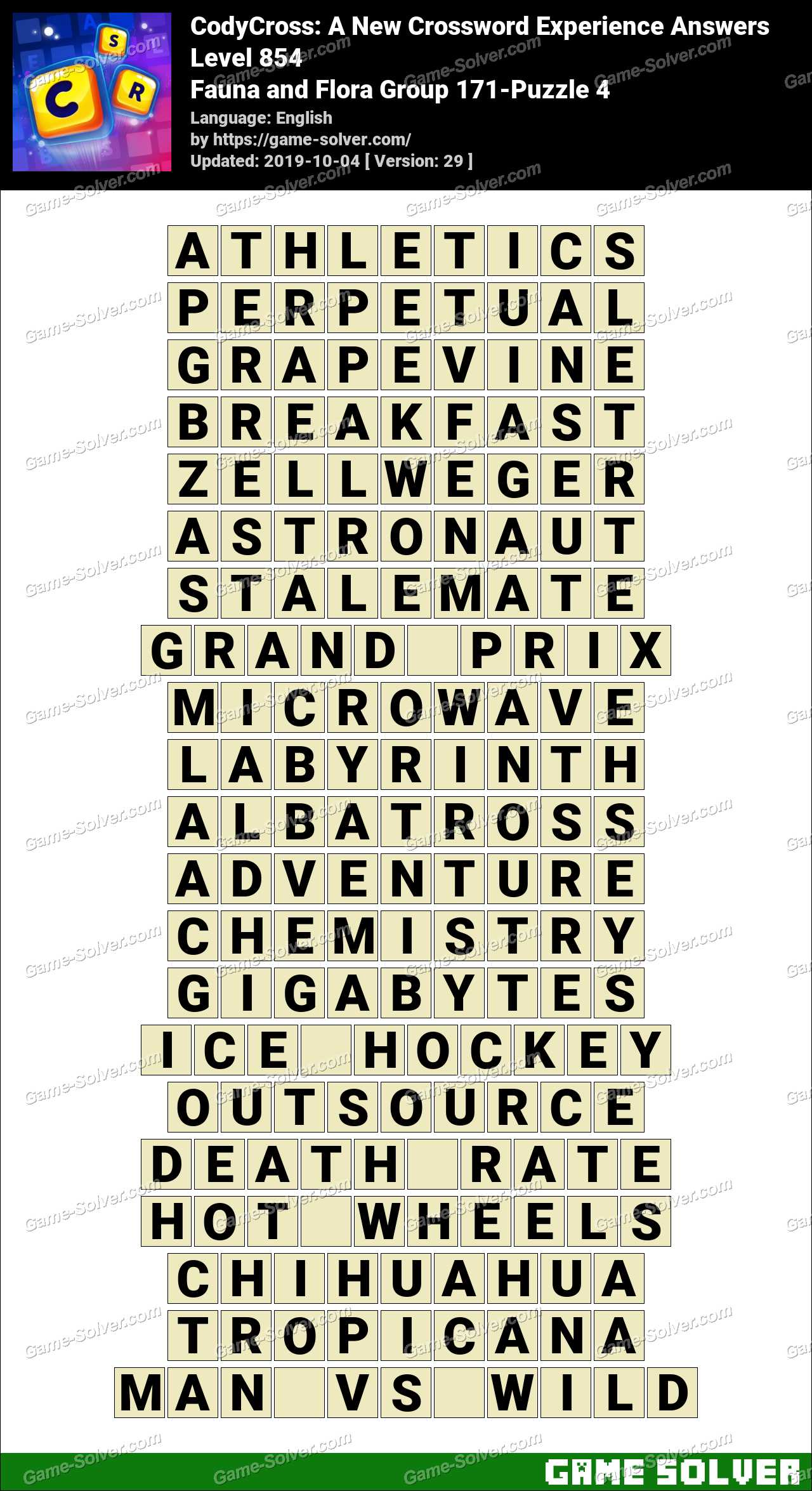 CodyCross Fauna and Flora Group 171-Puzzle 4 Answers