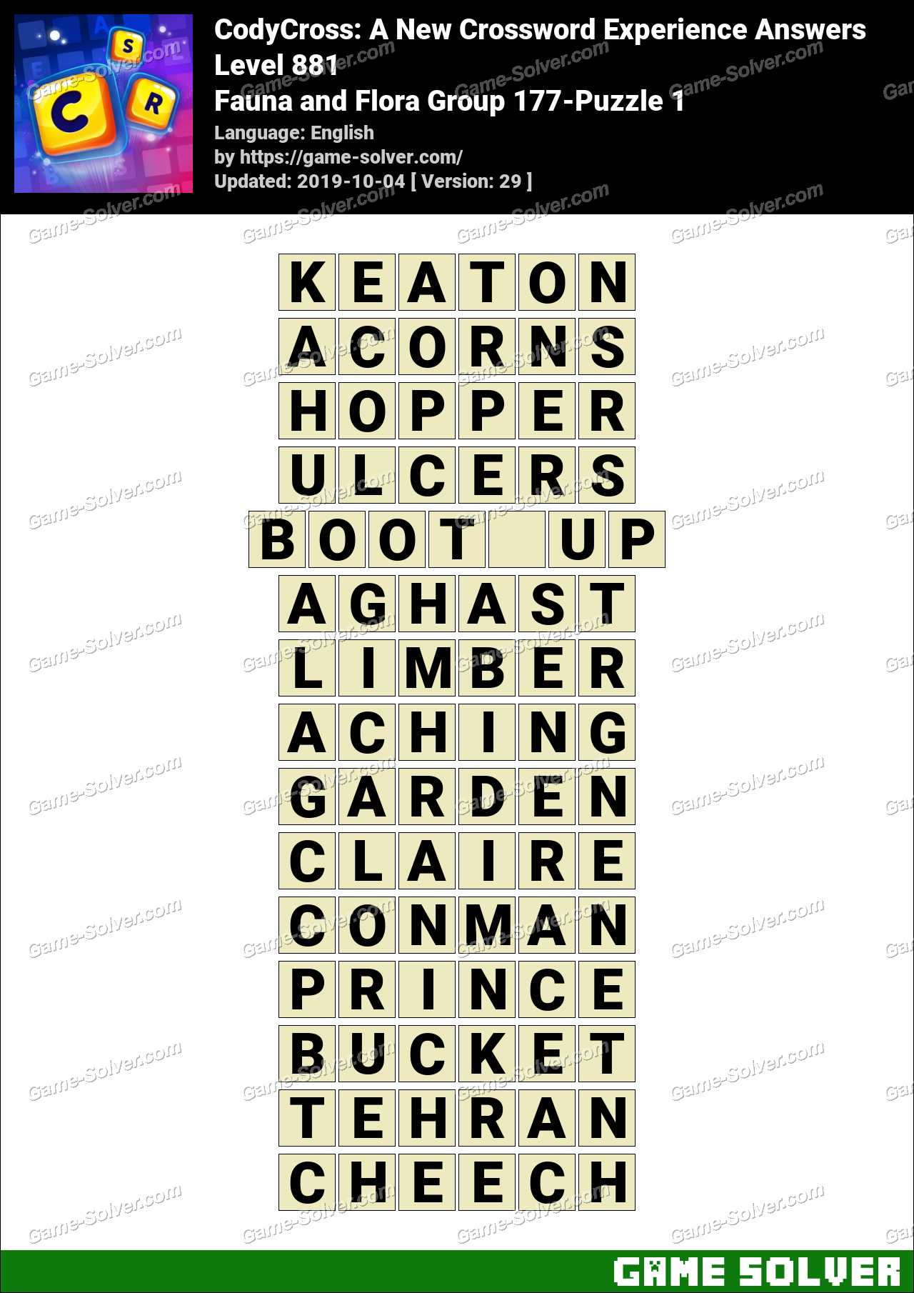 CodyCross Fauna and Flora Group 177-Puzzle 1 Answers