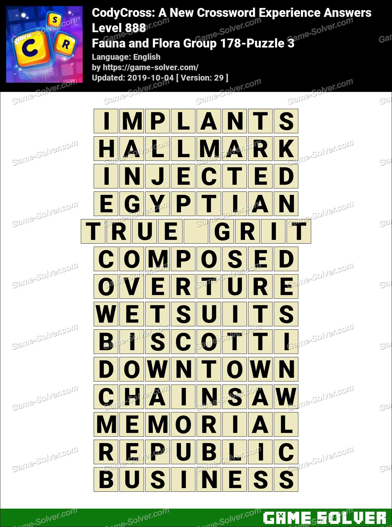 CodyCross Fauna and Flora Group 178-Puzzle 3 Answers