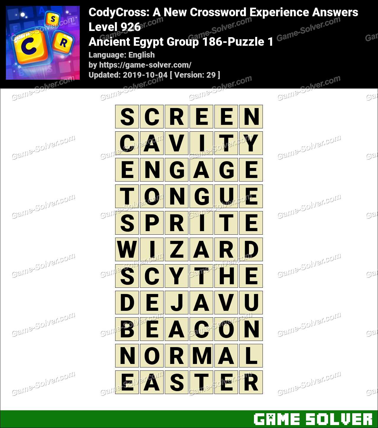 CodyCross Ancient Egypt Group 186-Puzzle 1 Answers