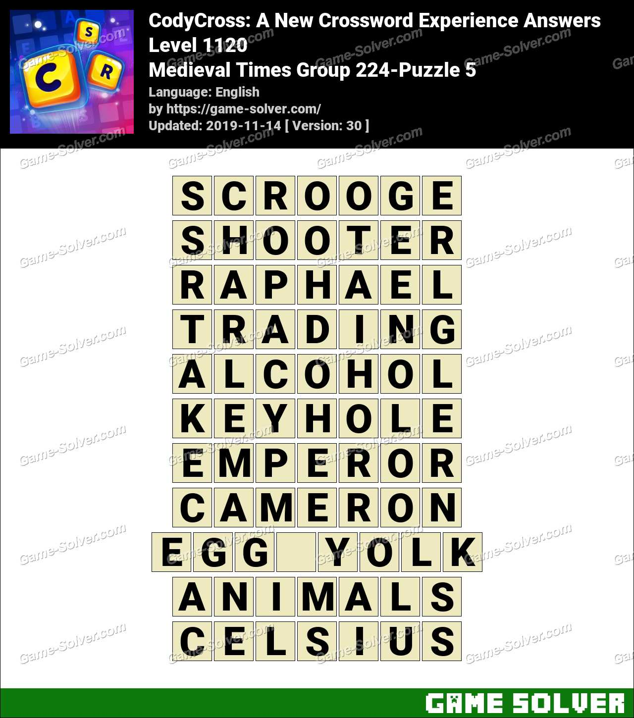 CodyCross Medieval Times Group 224-Puzzle 5 Answers