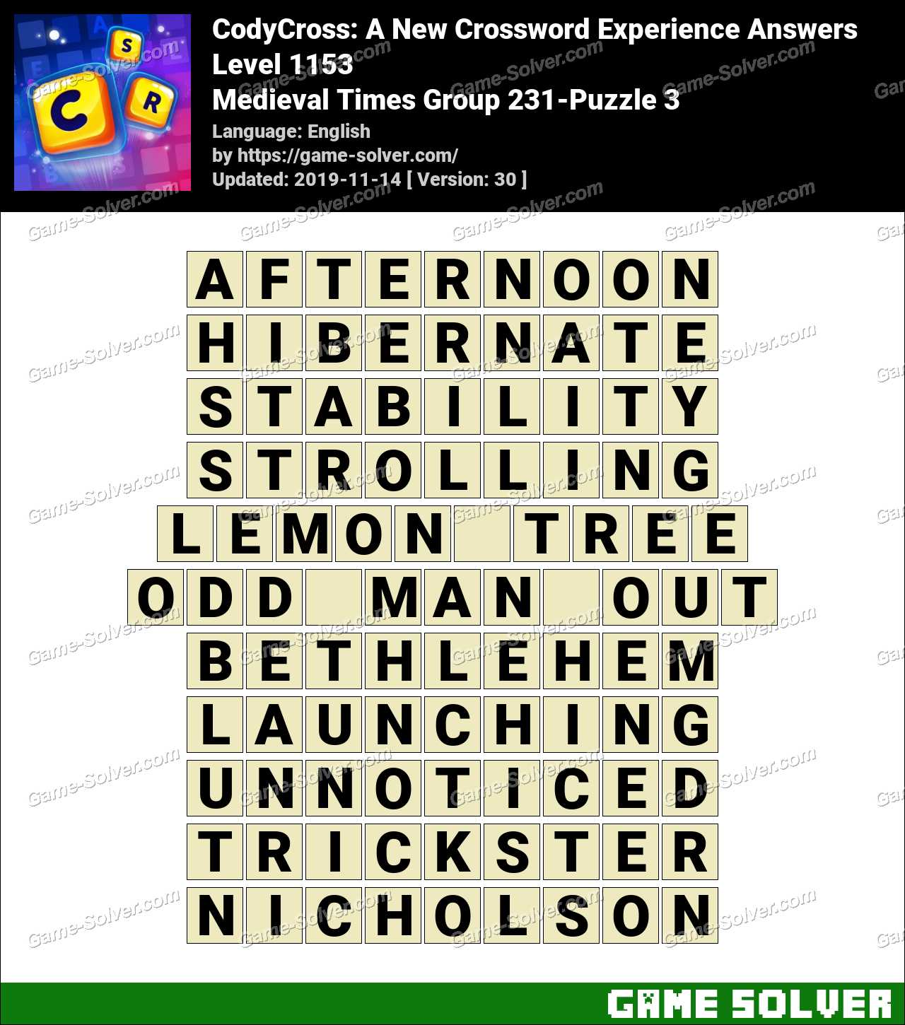 CodyCross Medieval Times Group 231-Puzzle 3 Answers