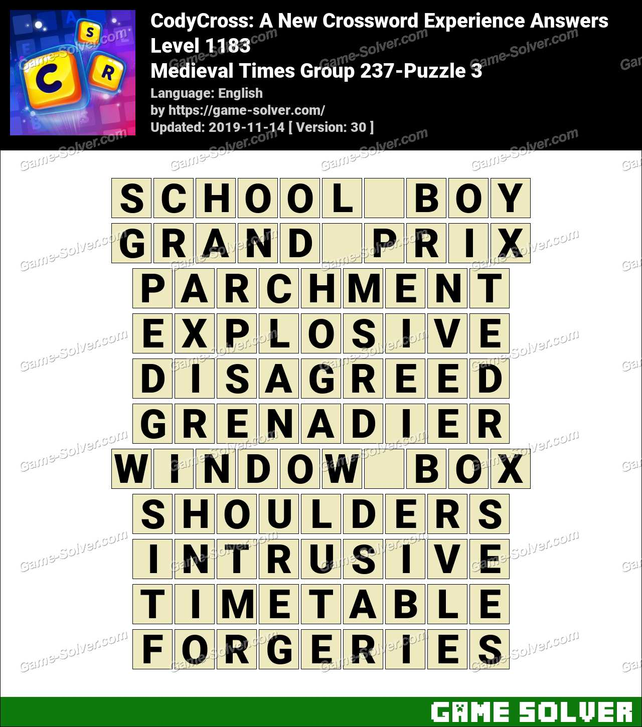CodyCross Medieval Times Group 237-Puzzle 3 Answers