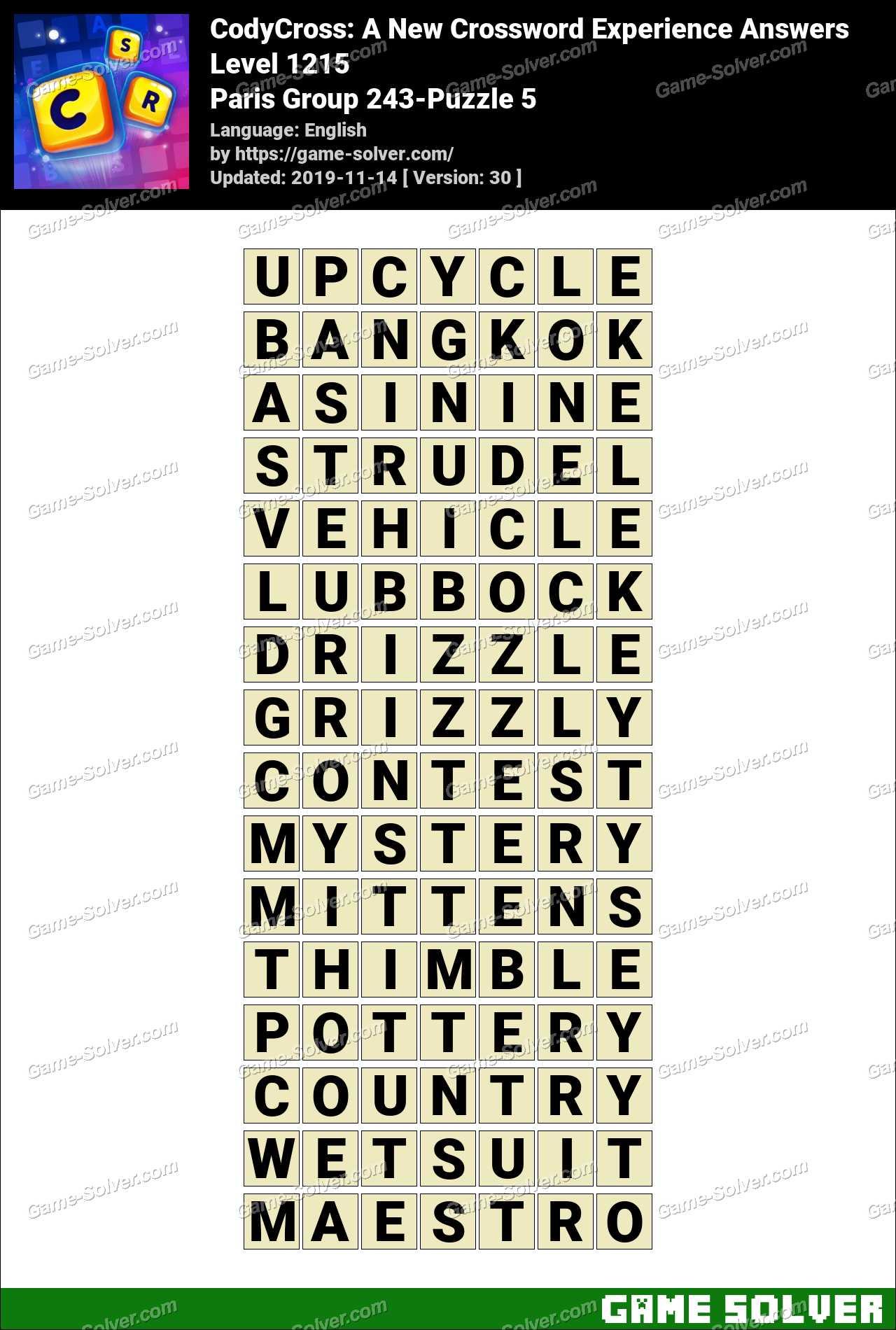 CodyCross Paris Group 243-Puzzle 5 Answers