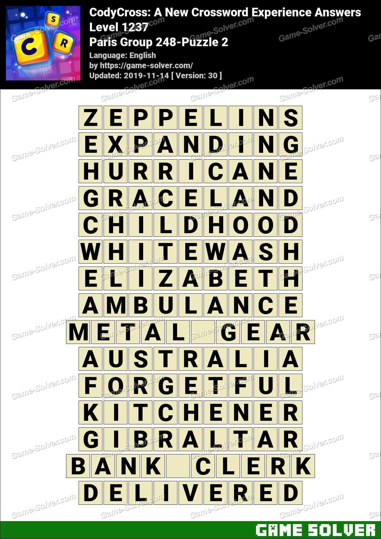 CodyCross Paris Group 248-Puzzle 2 Answers
