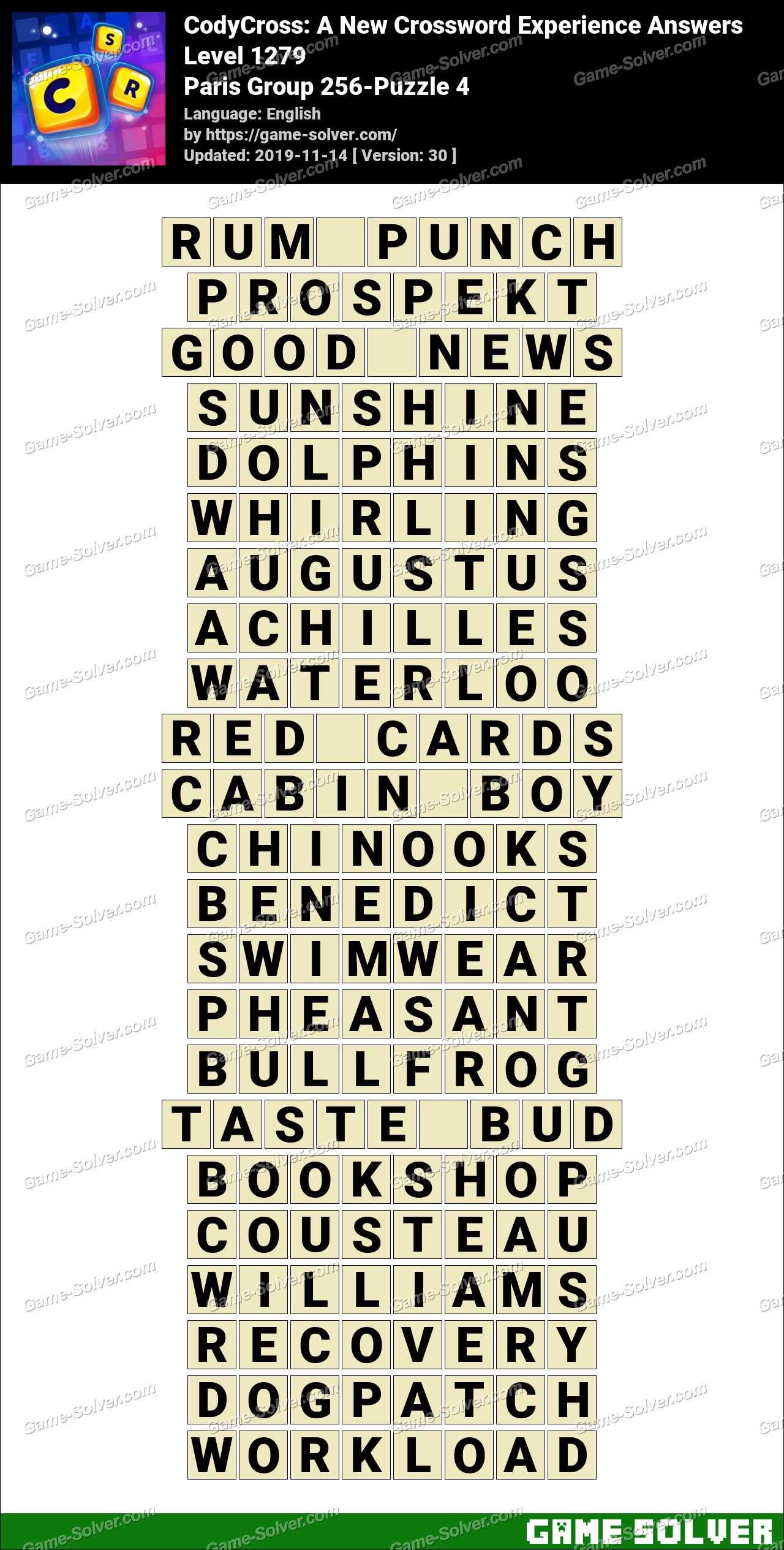 CodyCross Paris Group 256-Puzzle 4 Answers