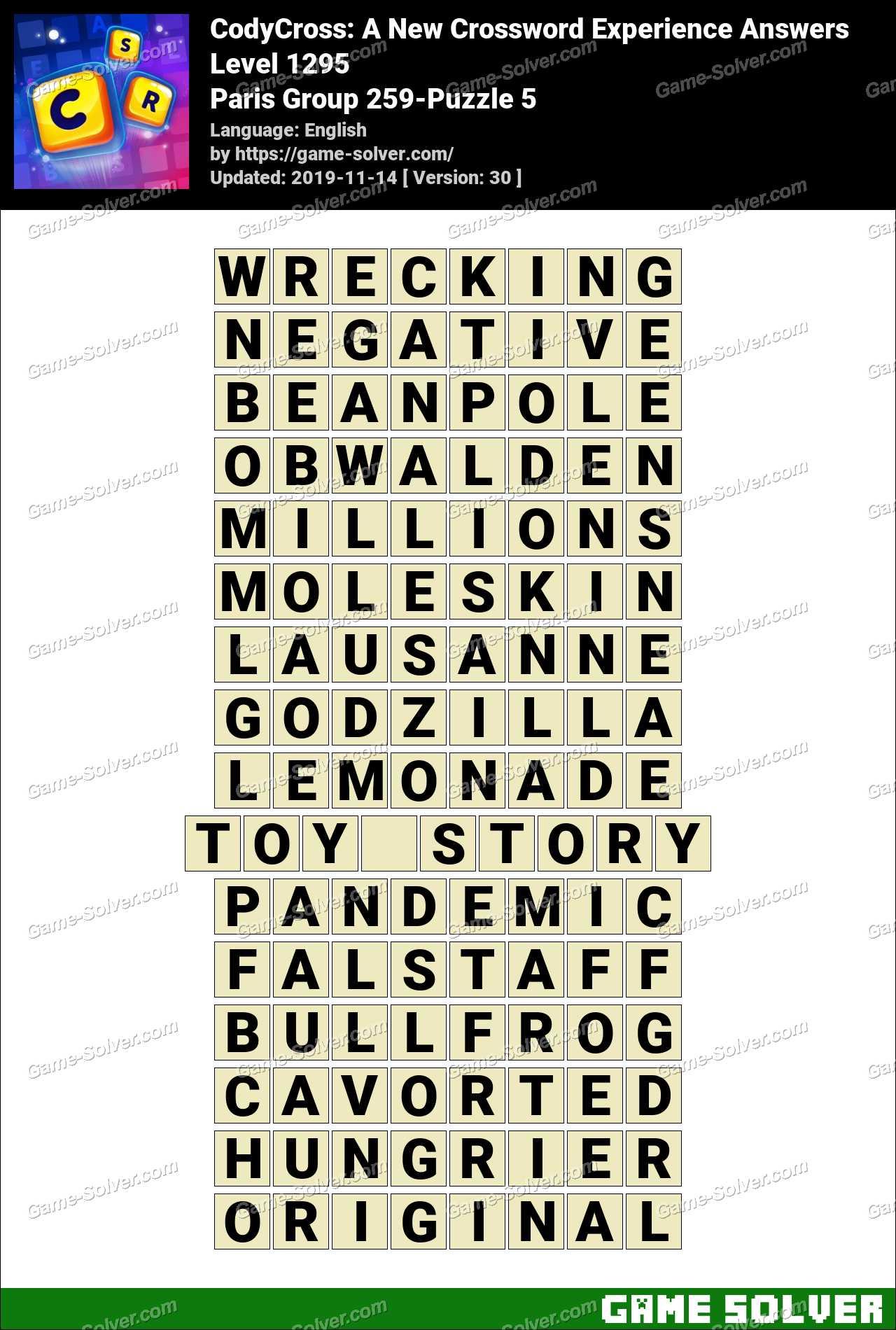 CodyCross Paris Group 259-Puzzle 5 Answers