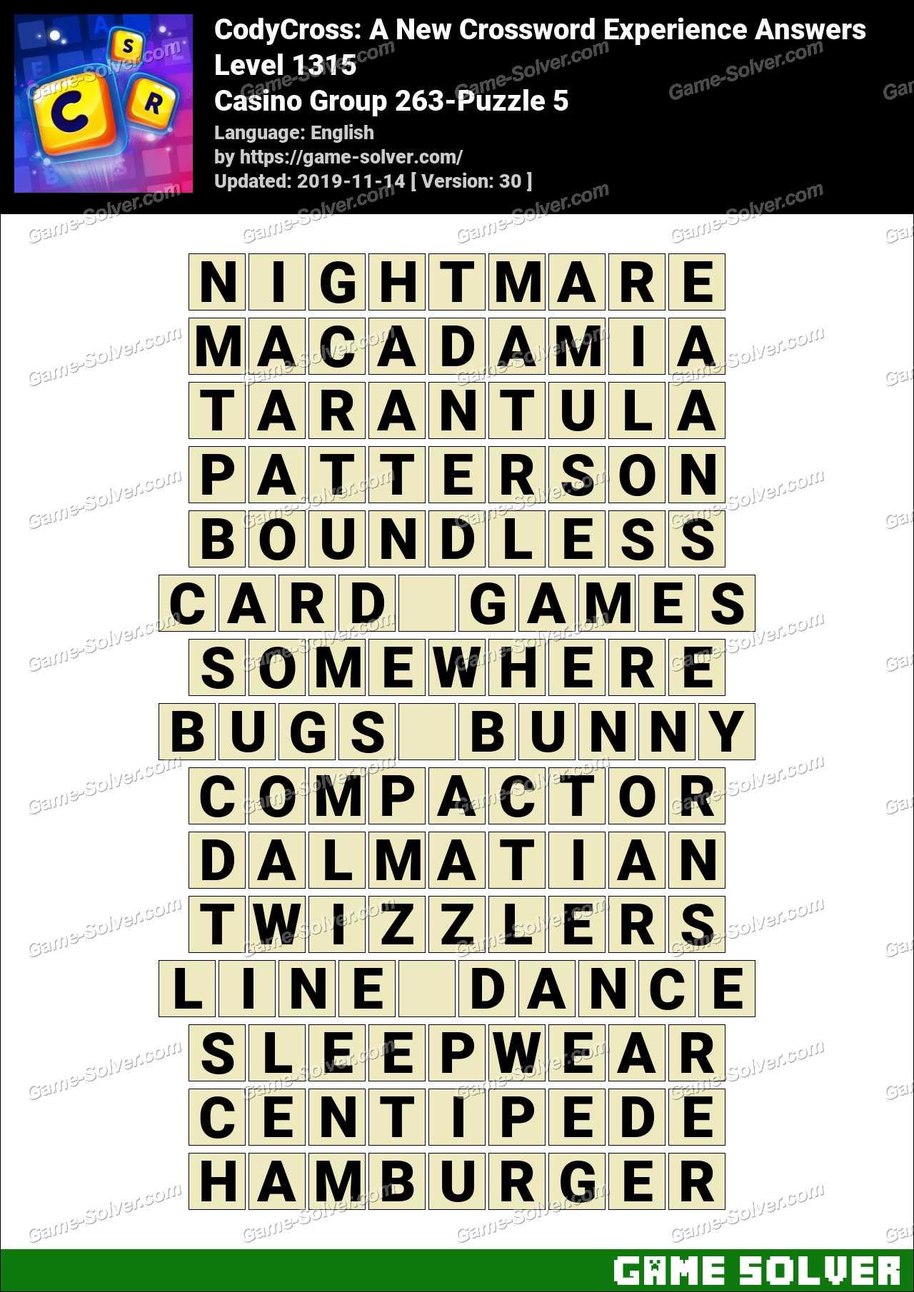 CodyCross Casino Group 263-Puzzle 5 Answers