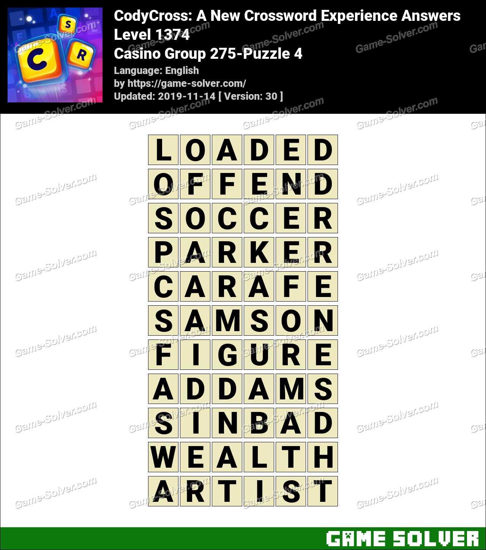 CodyCross Casino Group 275-Puzzle 4 Answers