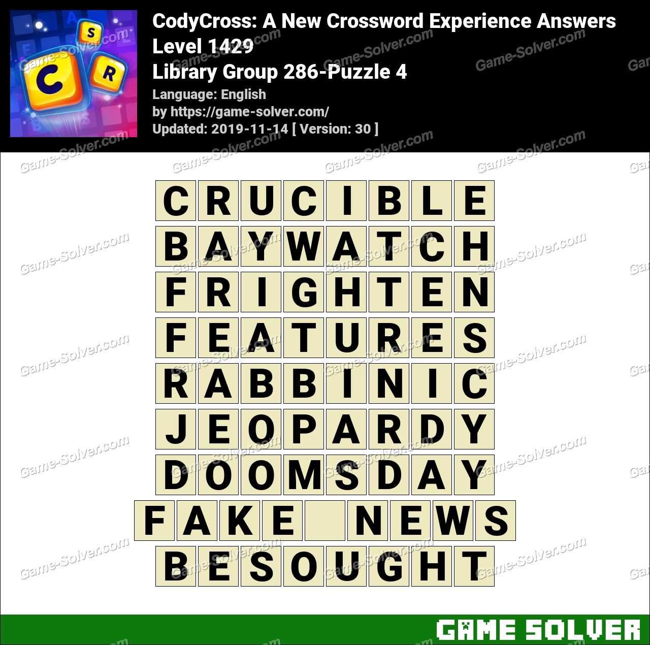 CodyCross Library Group 286-Puzzle 4 Answers