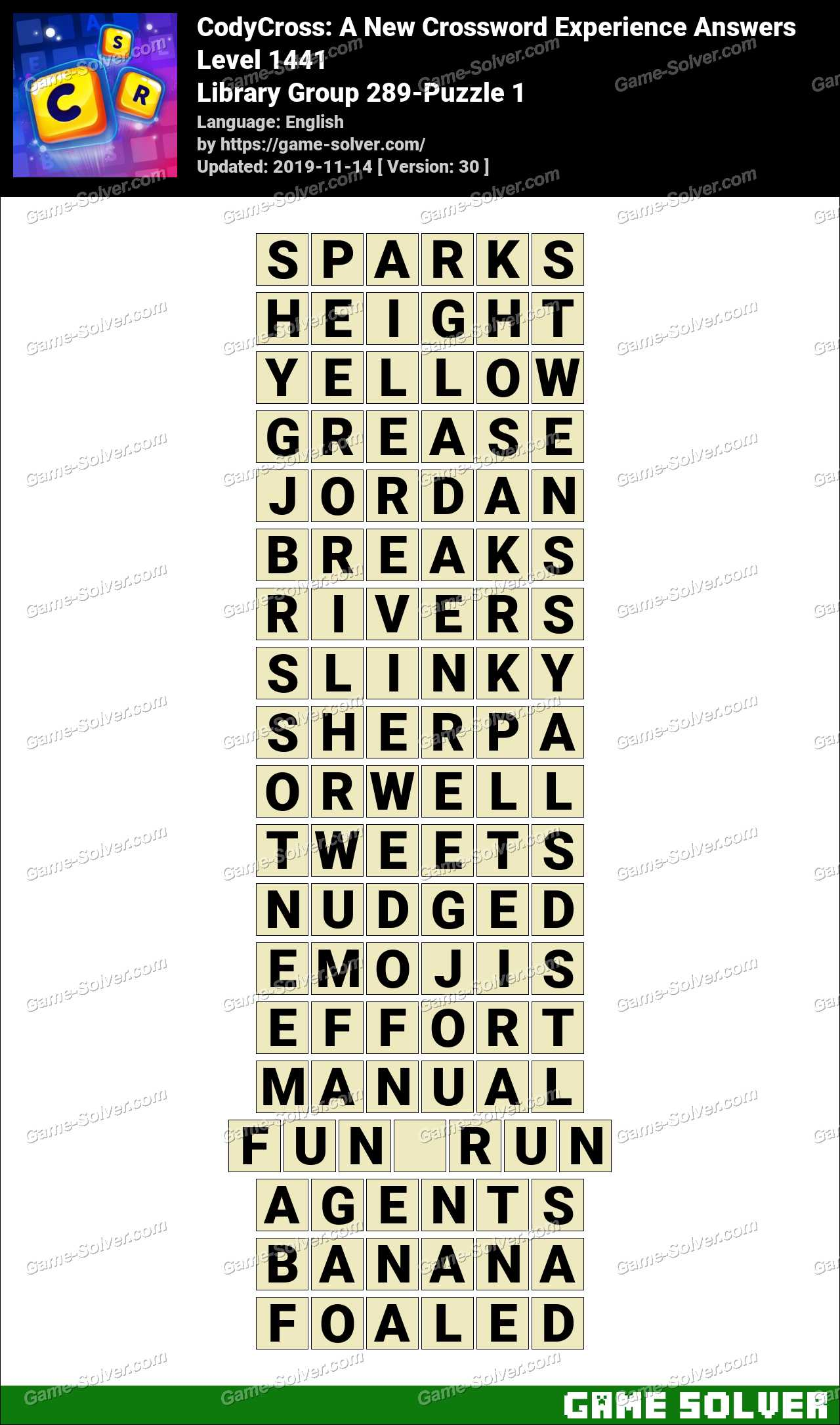 CodyCross Library Group 289-Puzzle 1 Answers
