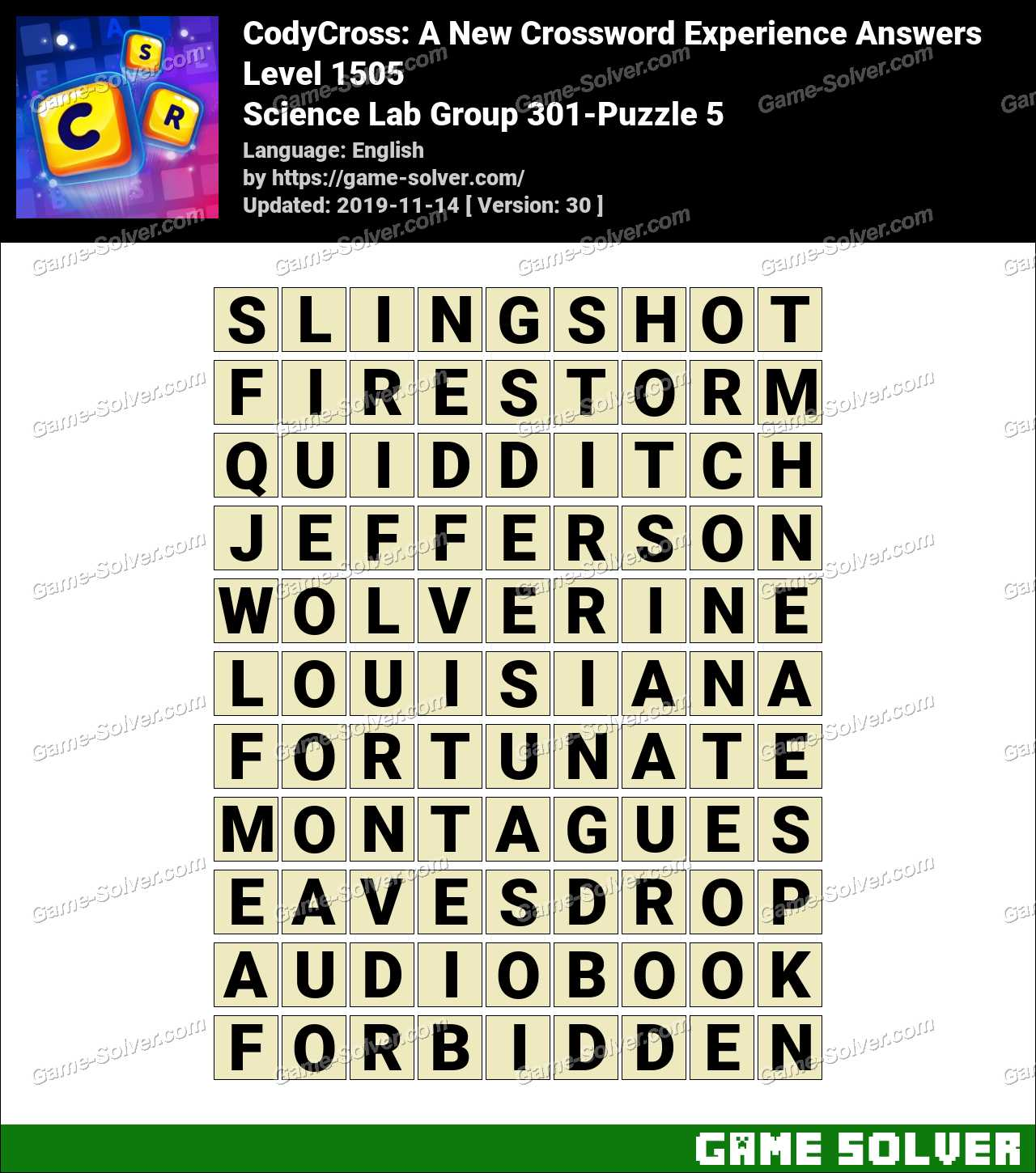 CodyCross Science Lab Group 301-Puzzle 5 Answers