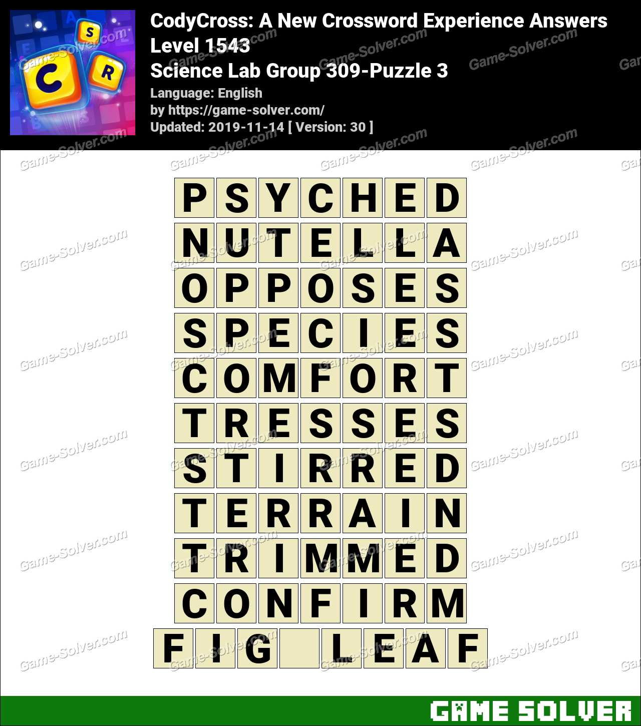 CodyCross Science Lab Group 309-Puzzle 3 Answers