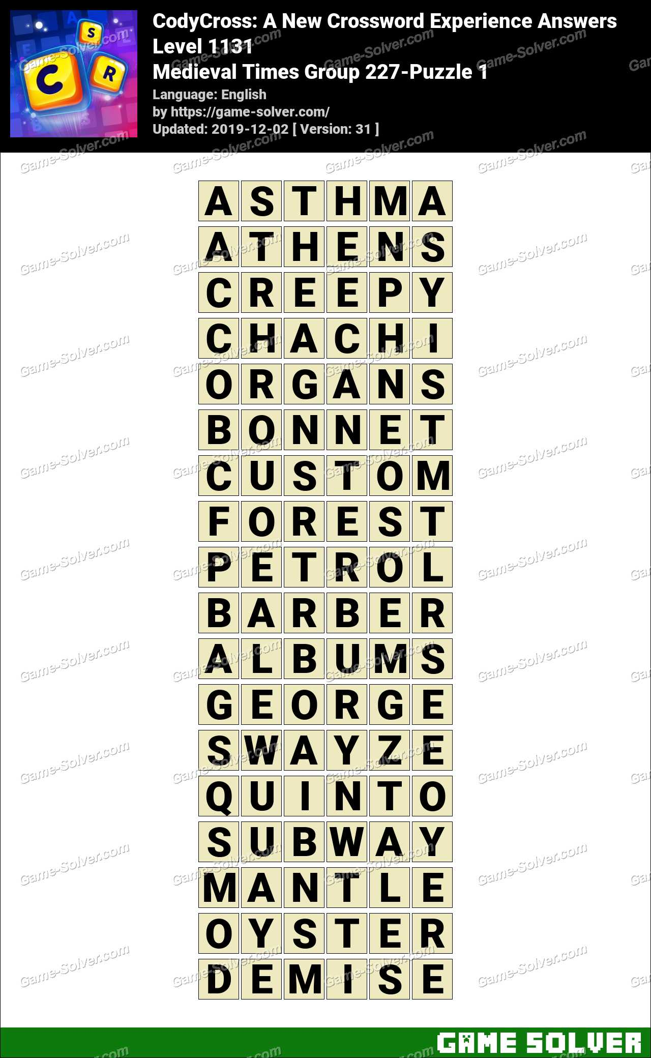 CodyCross Medieval Times Group 227-Puzzle 1 Answers