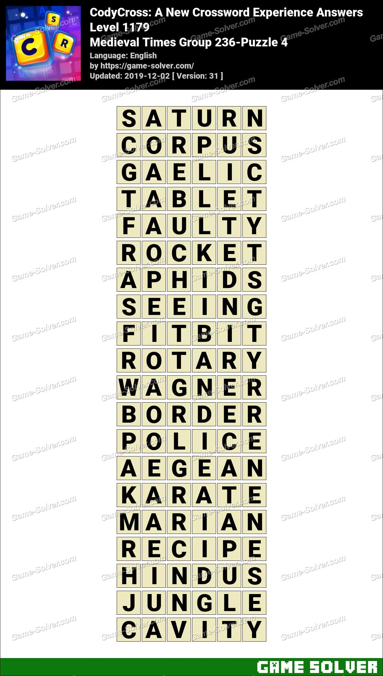 CodyCross Medieval Times Group 236-Puzzle 4 Answers