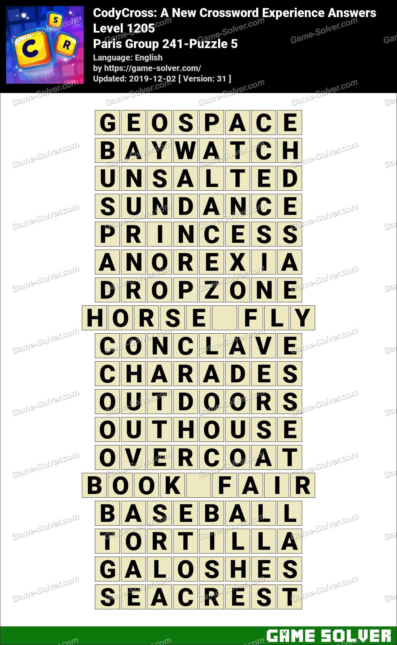 CodyCross Paris Group 241-Puzzle 5 Answers