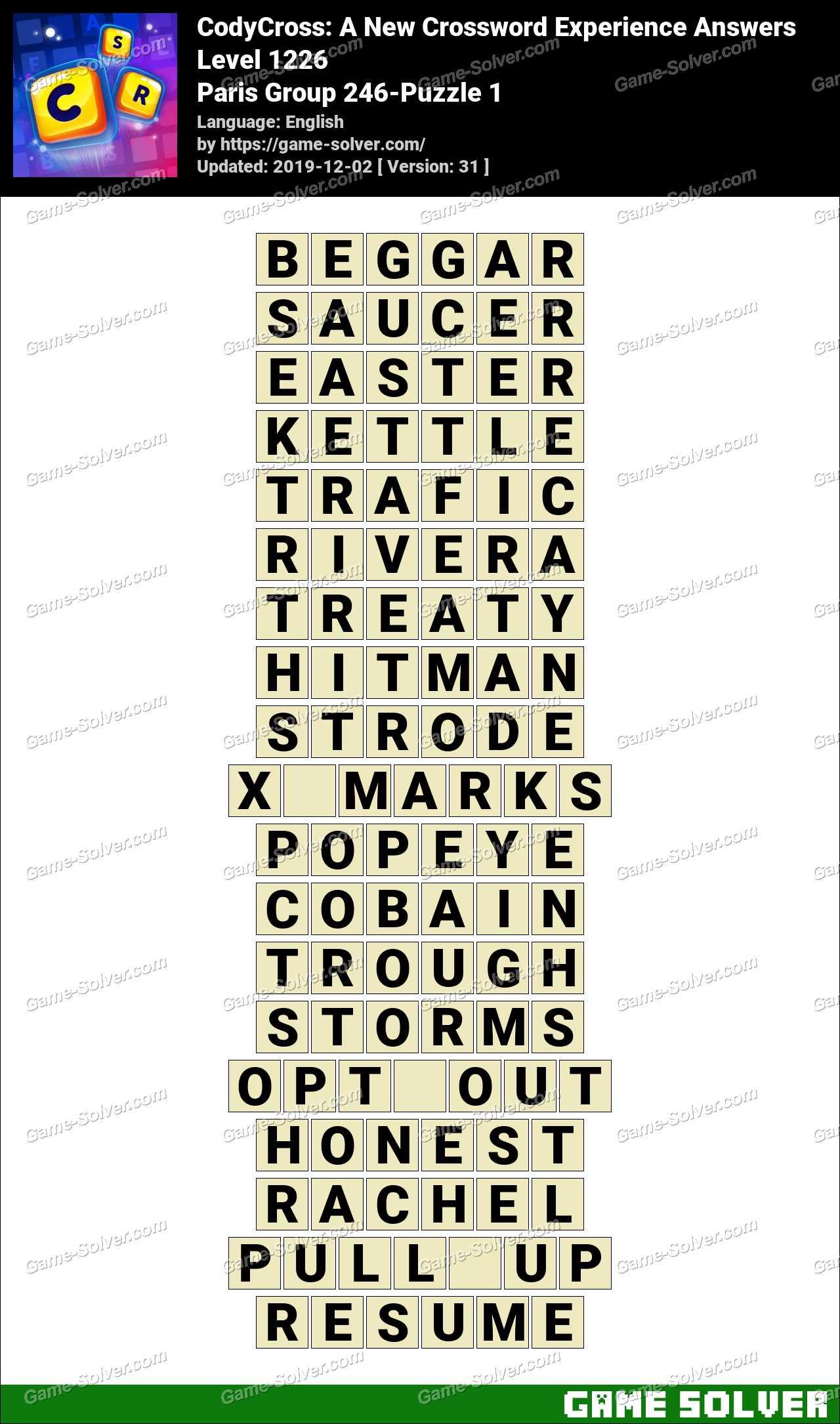 CodyCross Paris Group 246-Puzzle 1 Answers