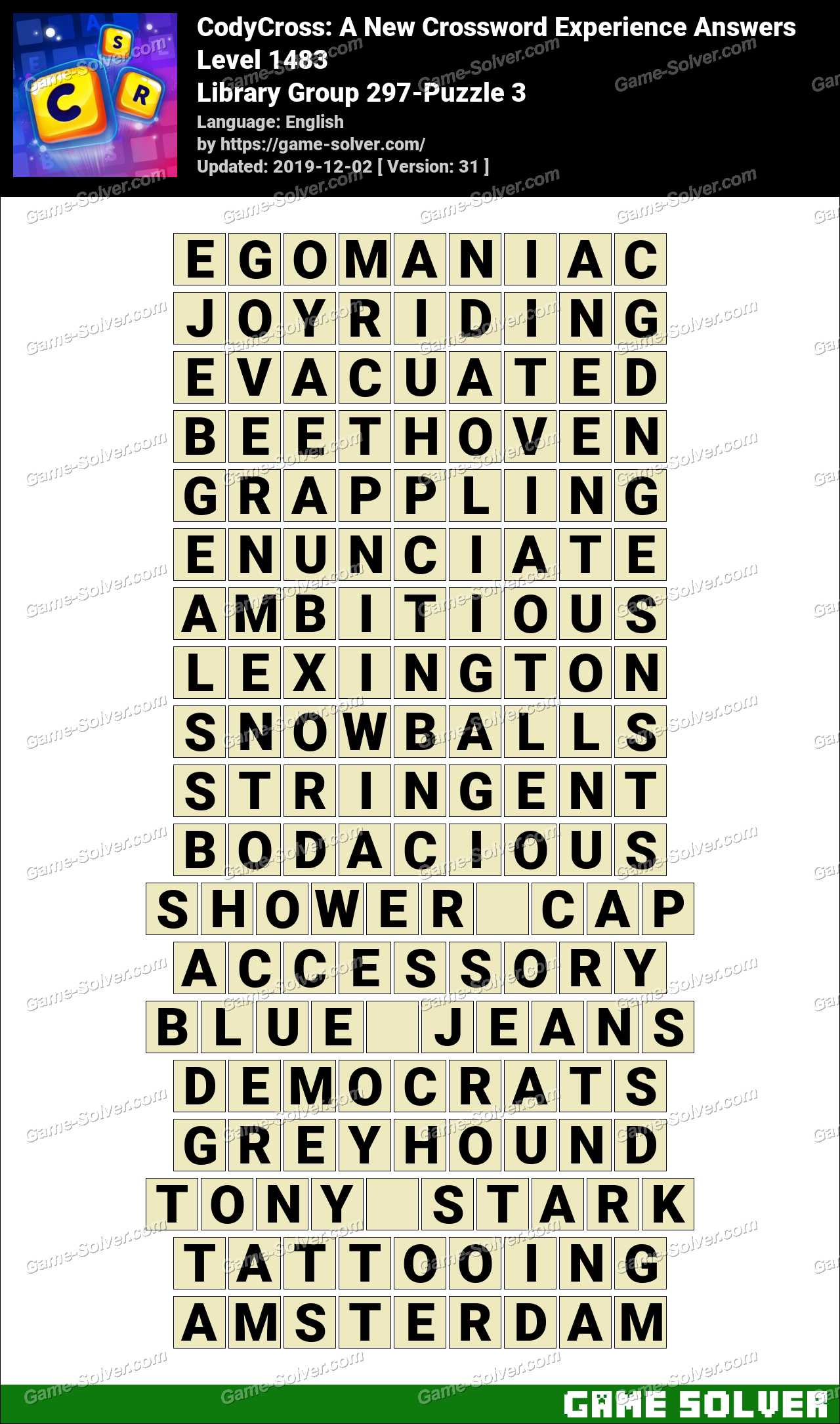 CodyCross Library Group 297-Puzzle 3 Answers