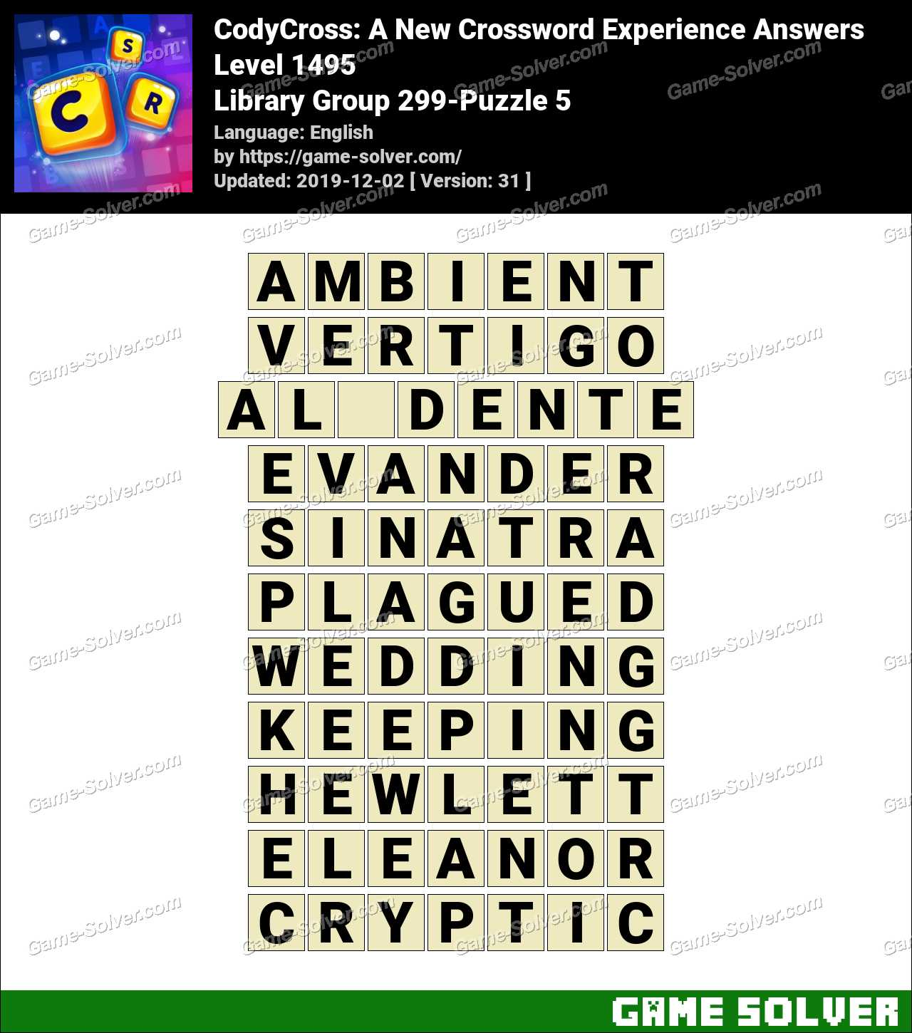 CodyCross Library Group 299-Puzzle 5 Answers