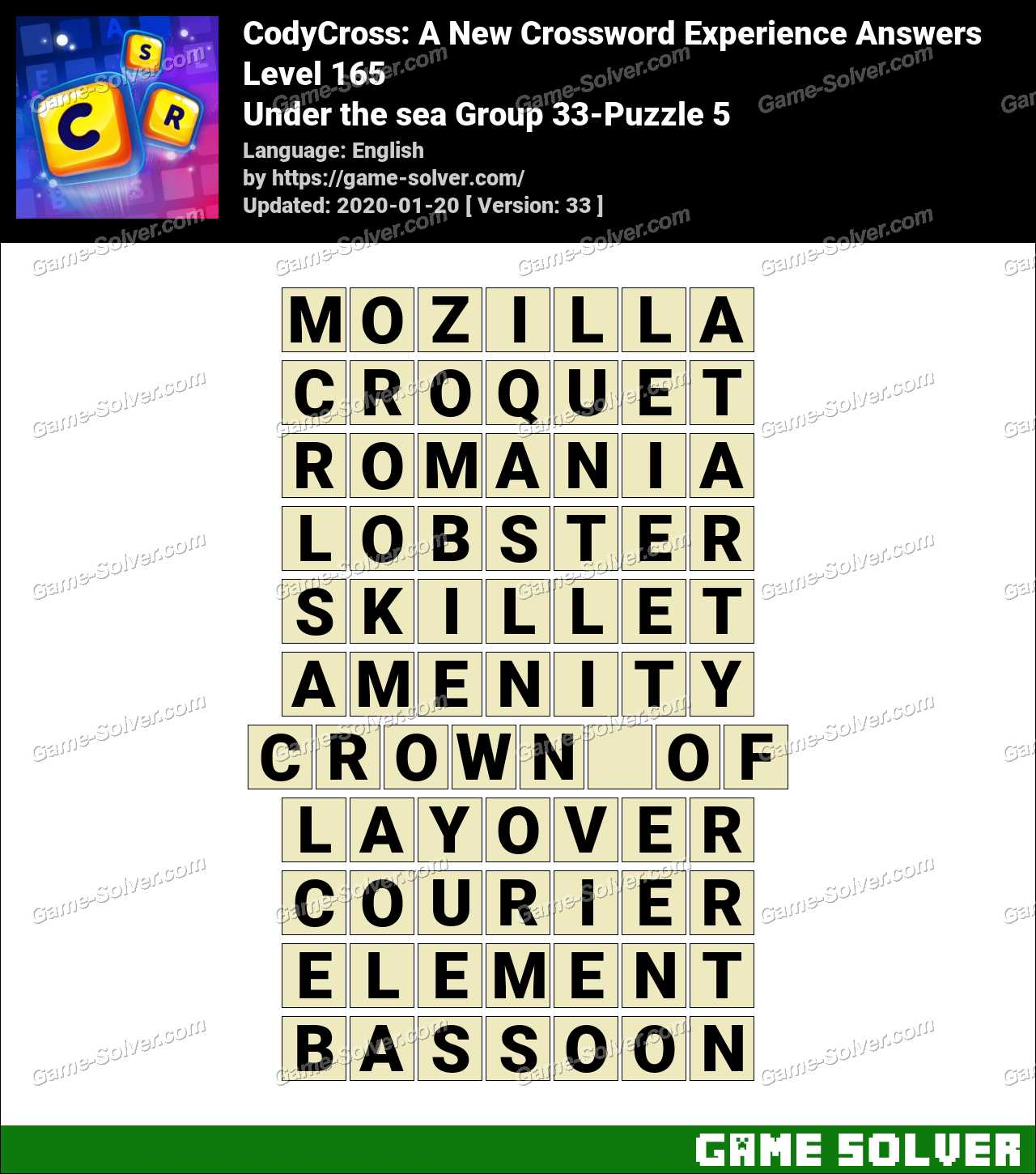 CodyCross Under the sea Group 33-Puzzle 5 Answers