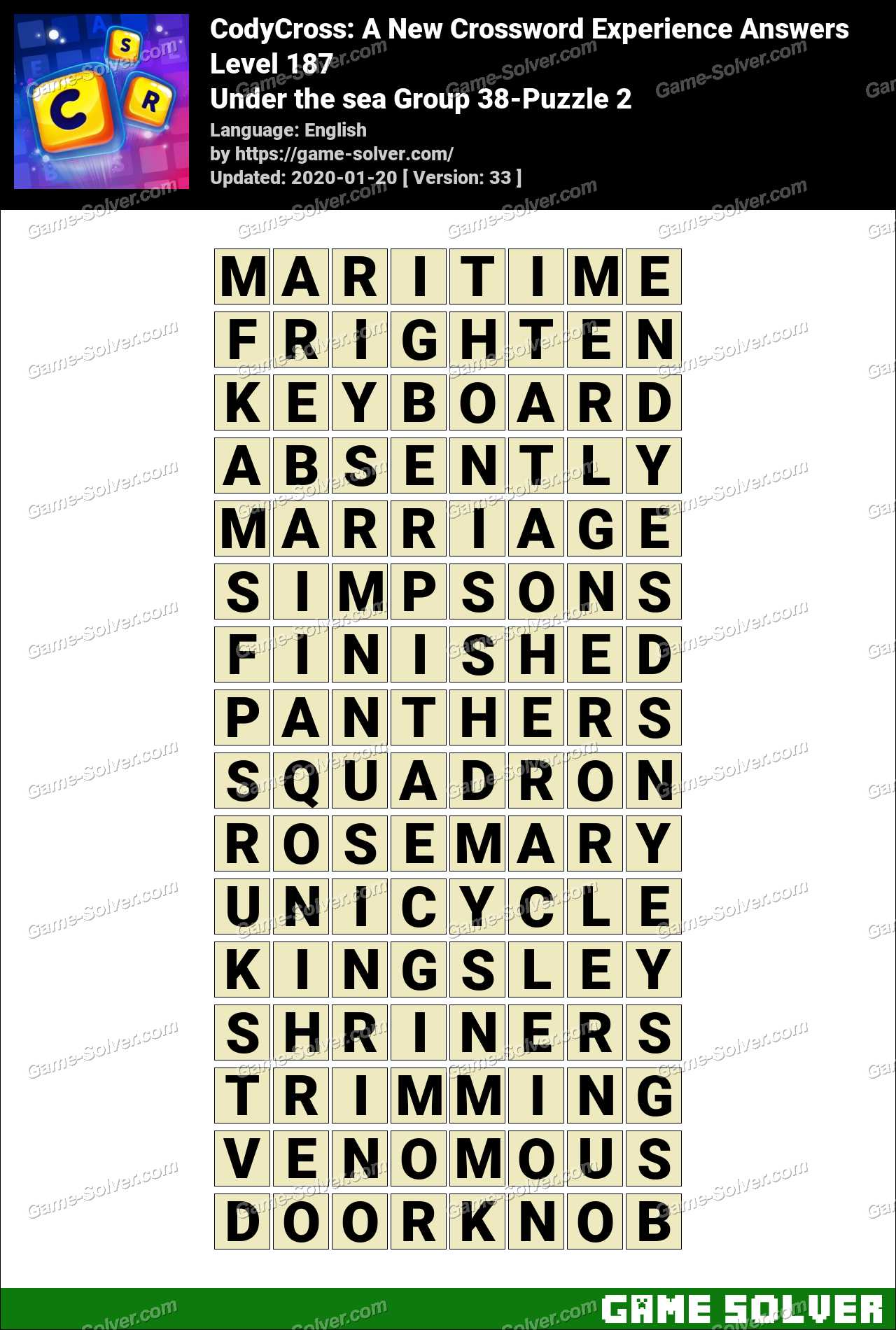 CodyCross Under the sea Group 38-Puzzle 2 Answers