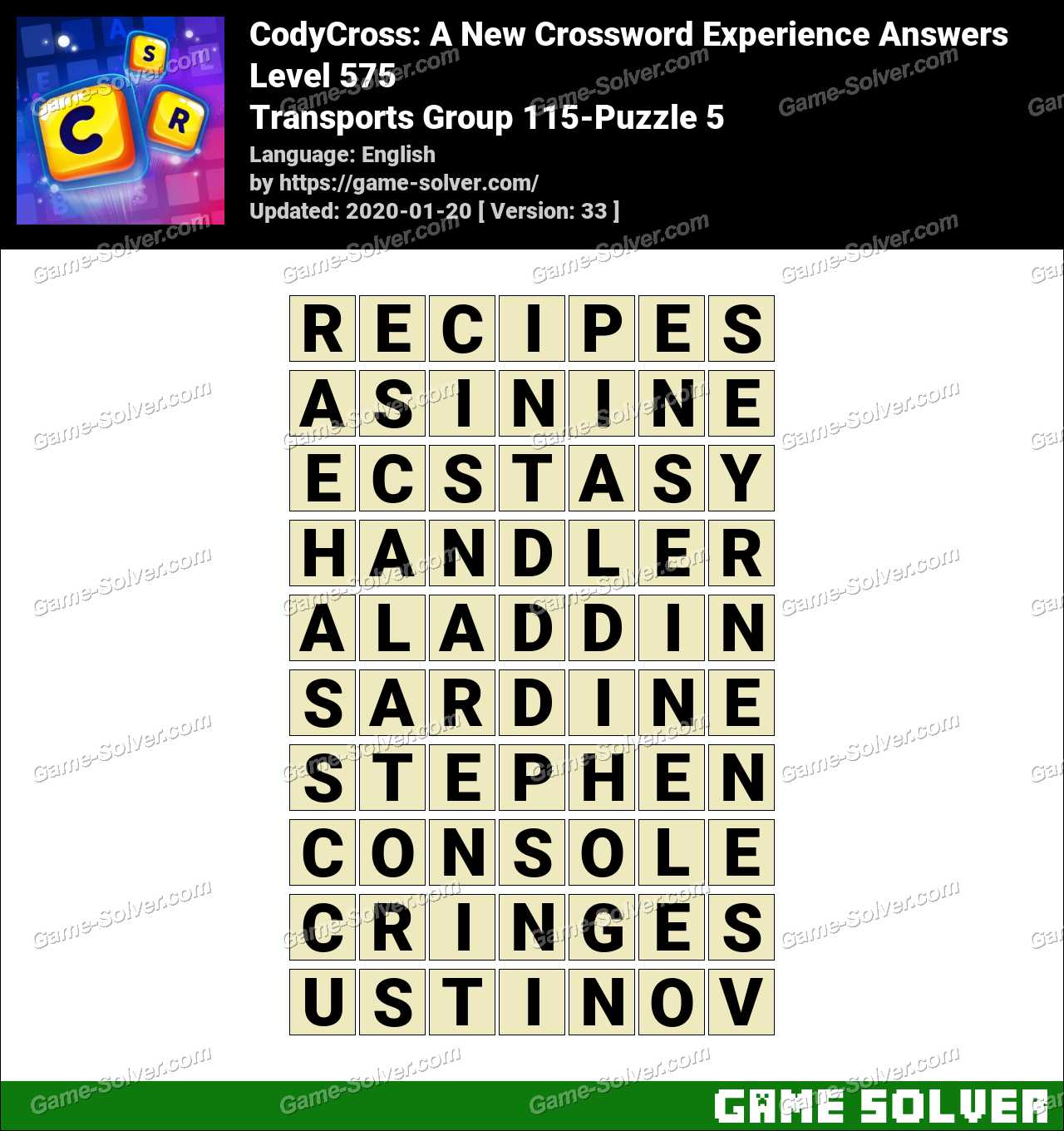 CodyCross Transports Group 115-Puzzle 5 Answers