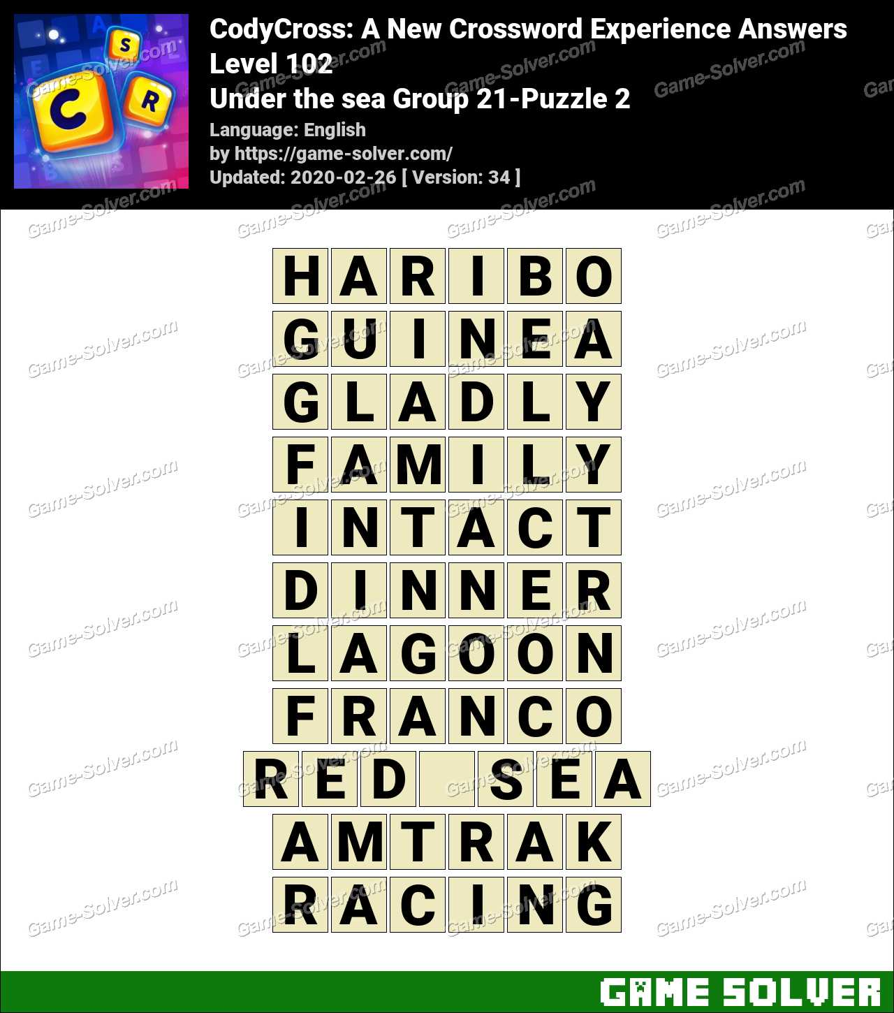 CodyCross Under the sea Group 21-Puzzle 2 Answers