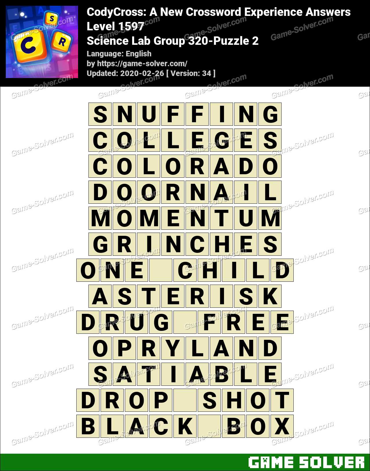 CodyCross Science Lab Group 320-Puzzle 2 Answers