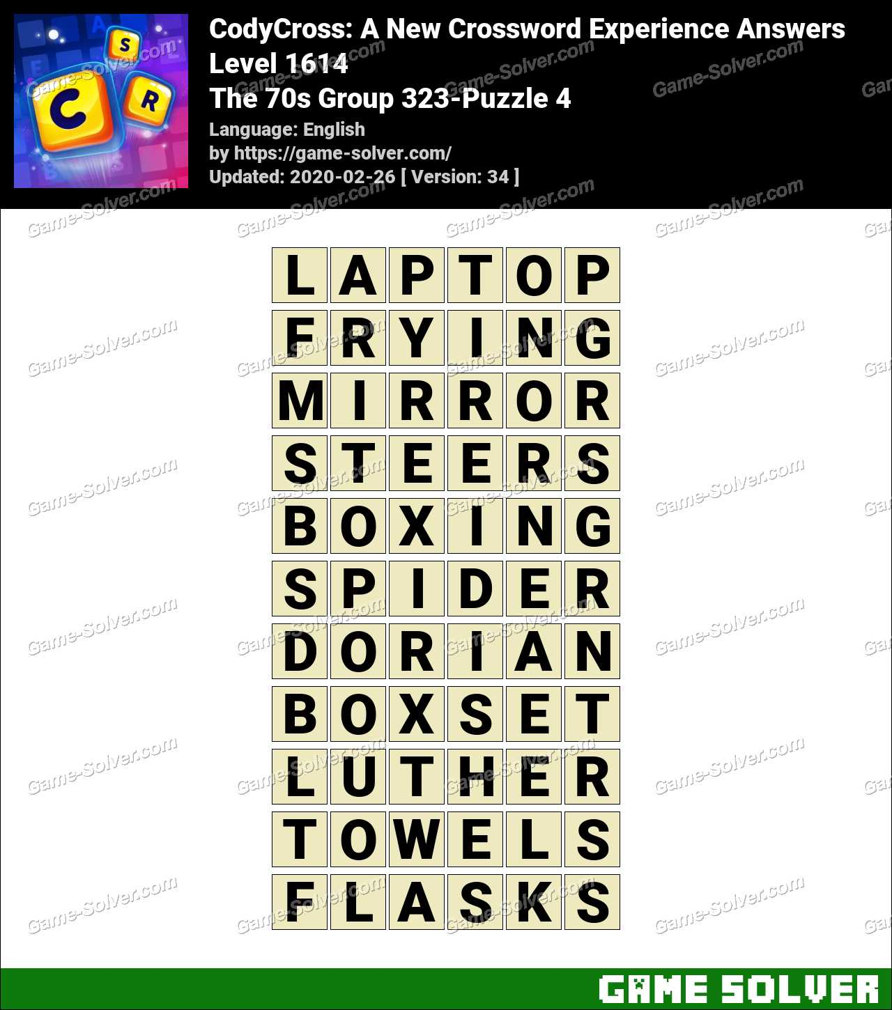 CodyCross The 70s Group 323-Puzzle 4 Answers
