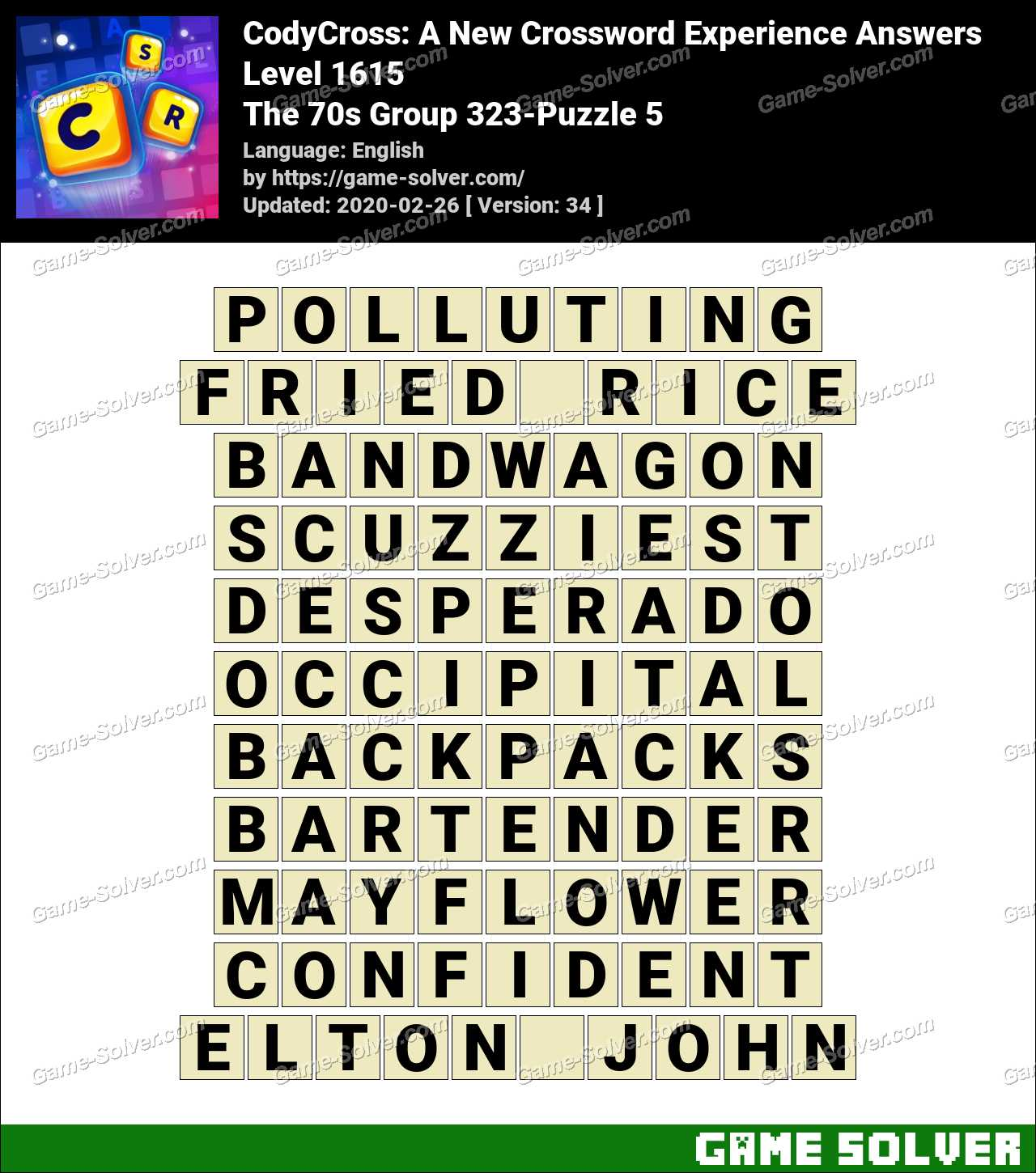 CodyCross The 70s Group 323-Puzzle 5 Answers