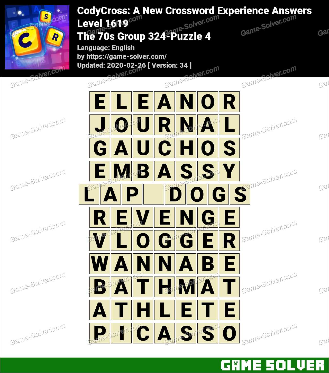 CodyCross The 70s Group 324-Puzzle 4 Answers