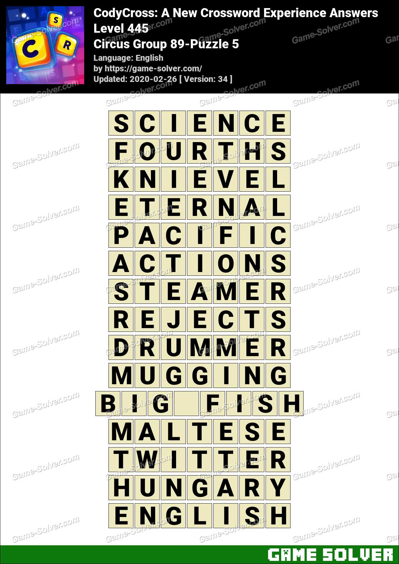 CodyCross Circus Group 89-Puzzle 5 Answers