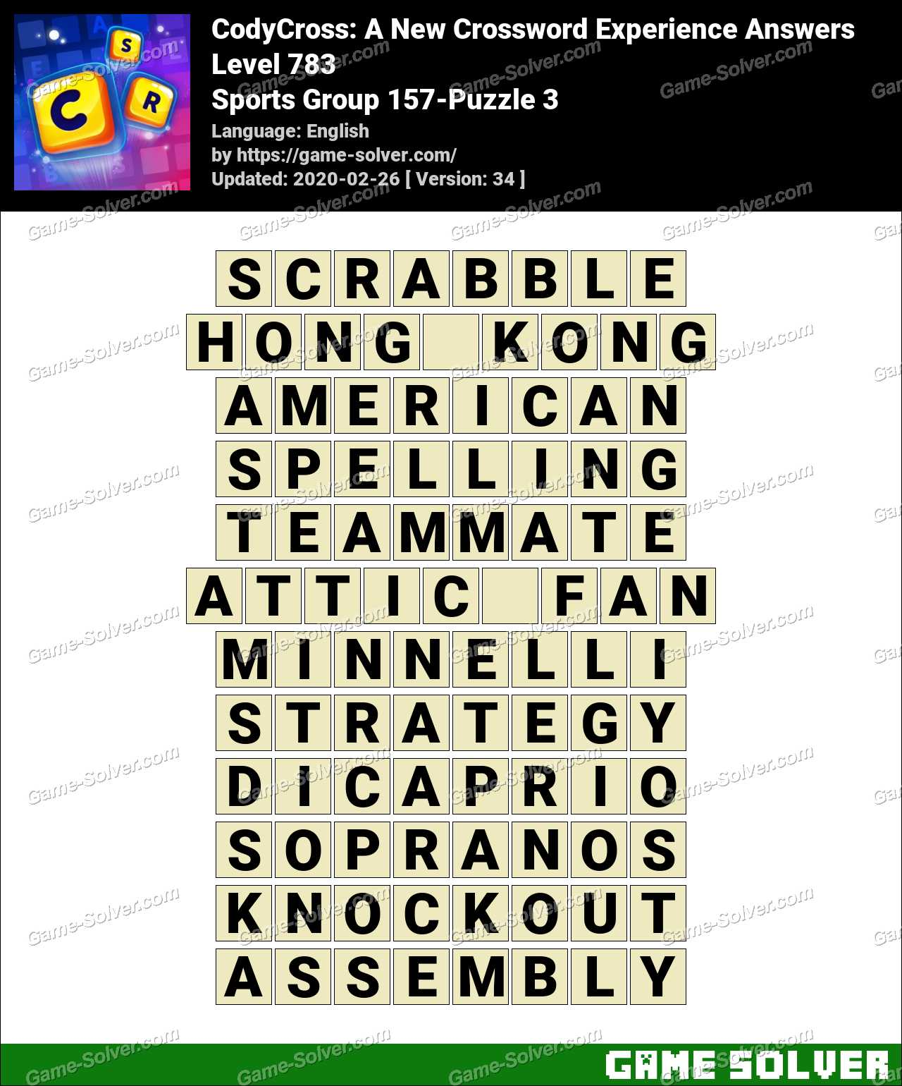 CodyCross Sports Group 157-Puzzle 3 Answers