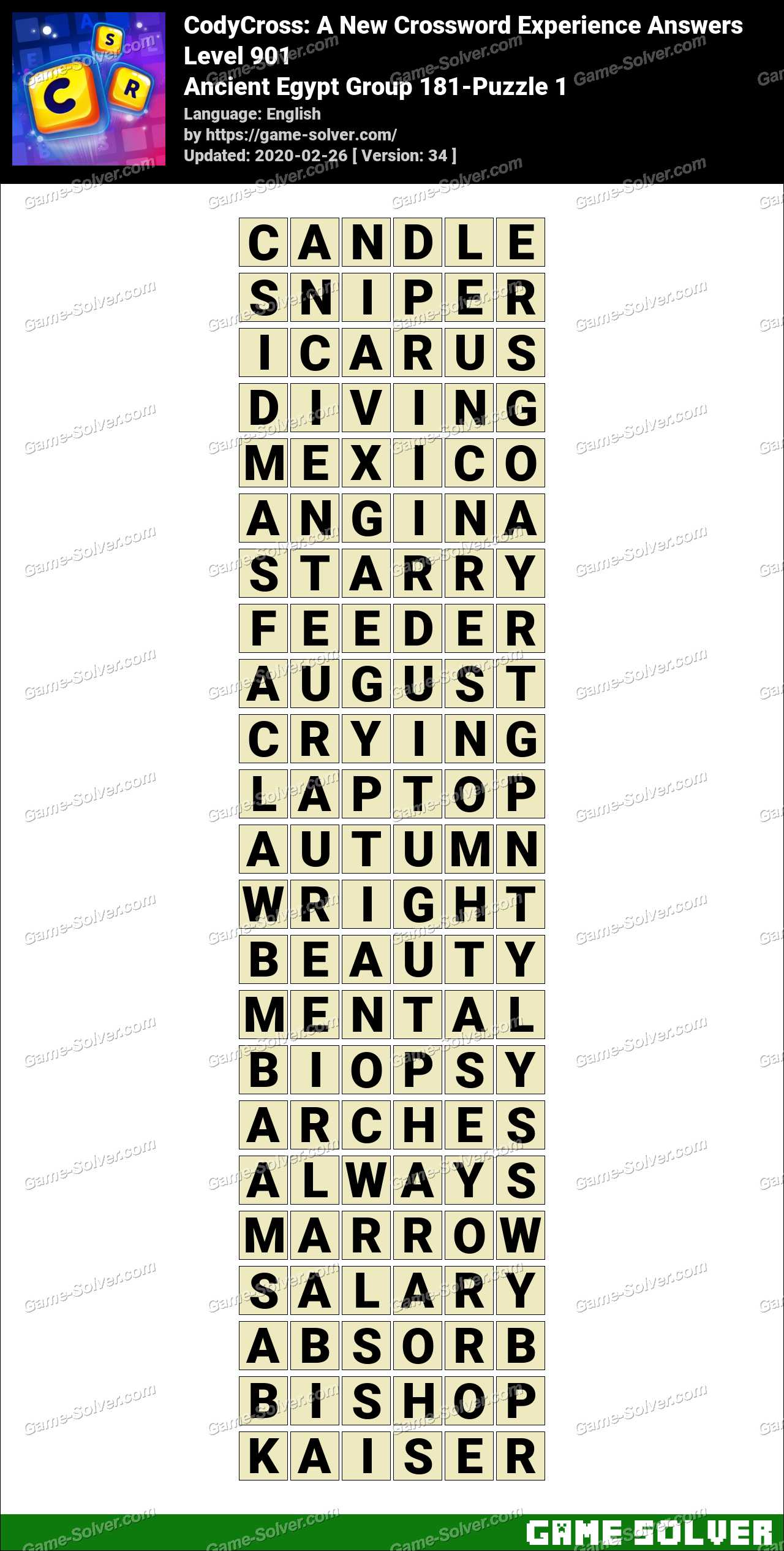 CodyCross Ancient Egypt Group 181-Puzzle 1 Answers