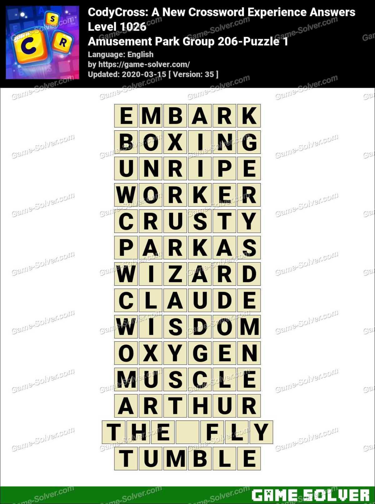 CodyCross Amusement Park Group 206-Puzzle 1 Answers