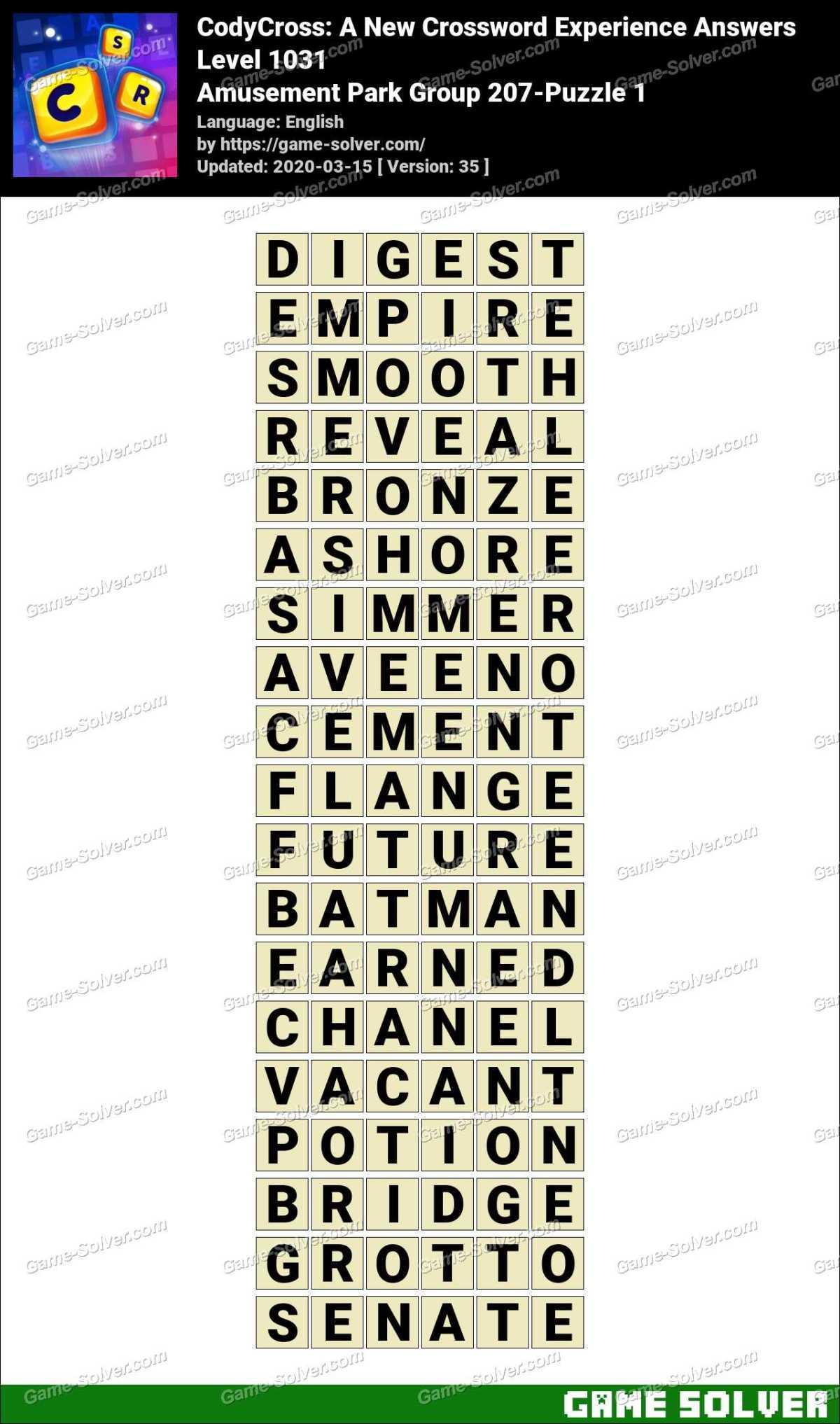 CodyCross Amusement Park Group 207-Puzzle 1 Answers