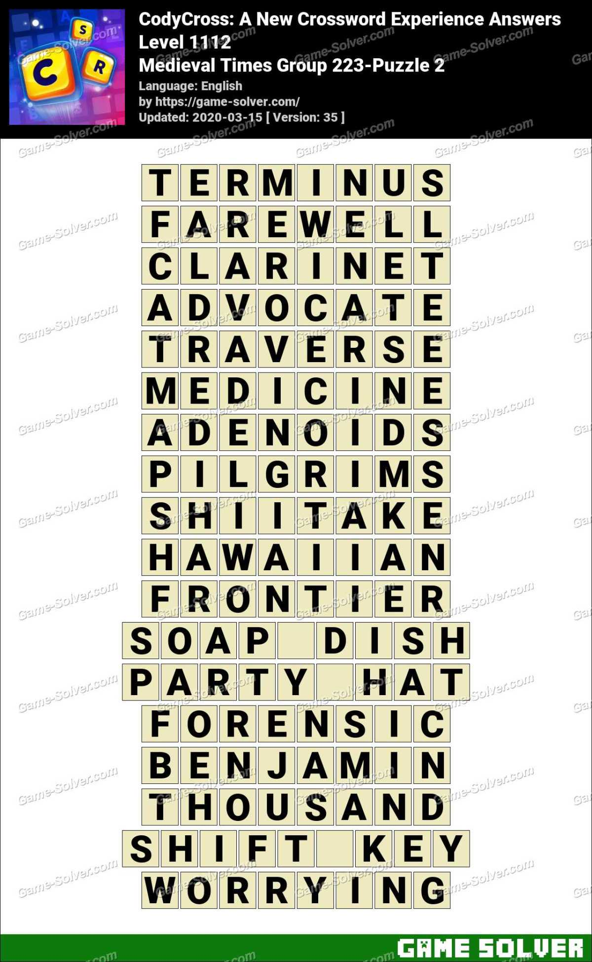 CodyCross Medieval Times Group 223-Puzzle 2 Answers
