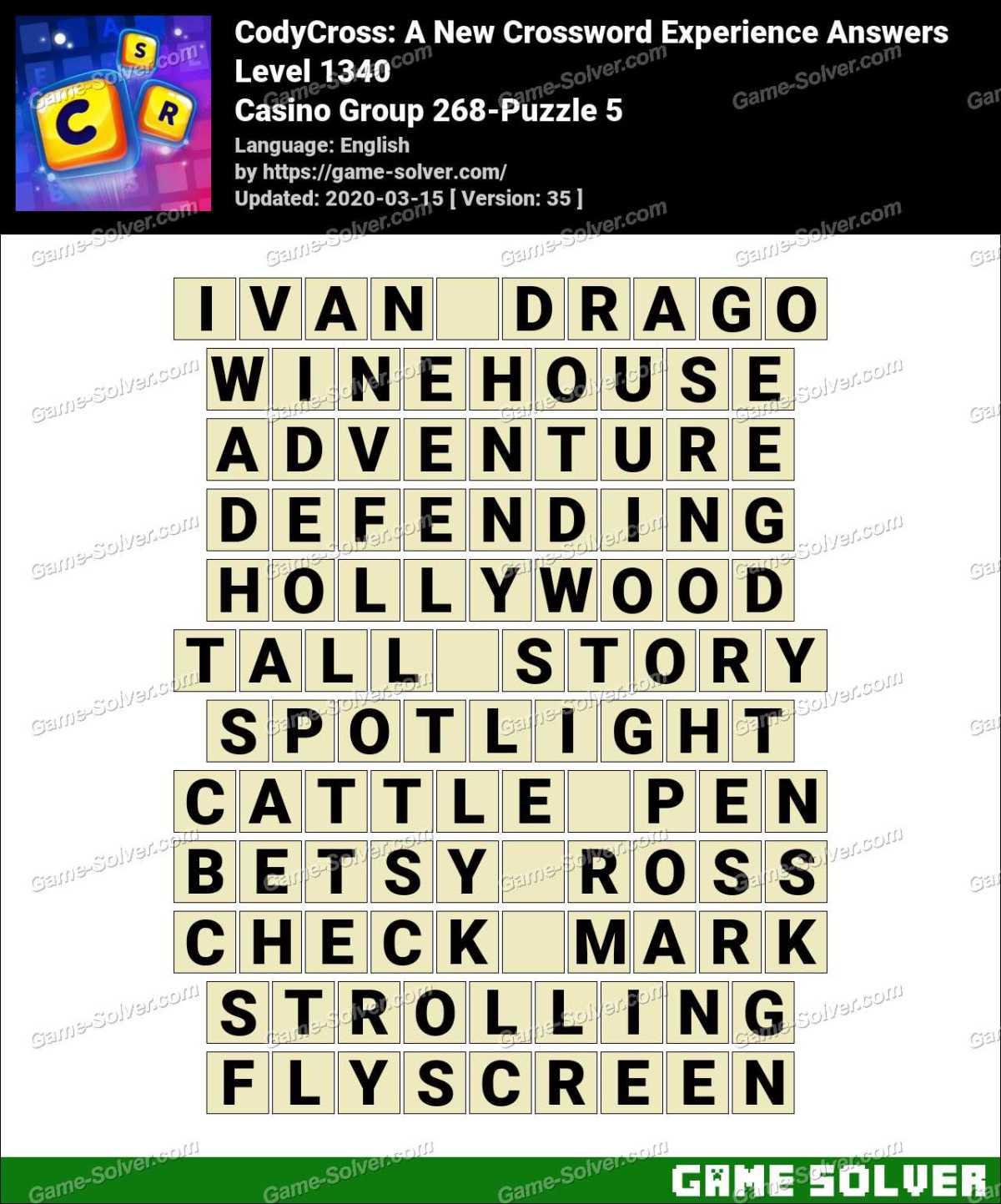CodyCross Casino Group 268-Puzzle 5 Answers