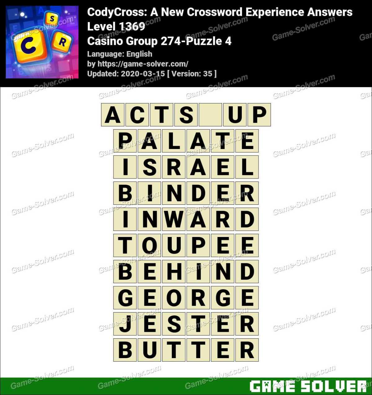 CodyCross Casino Group 274-Puzzle 4 Answers