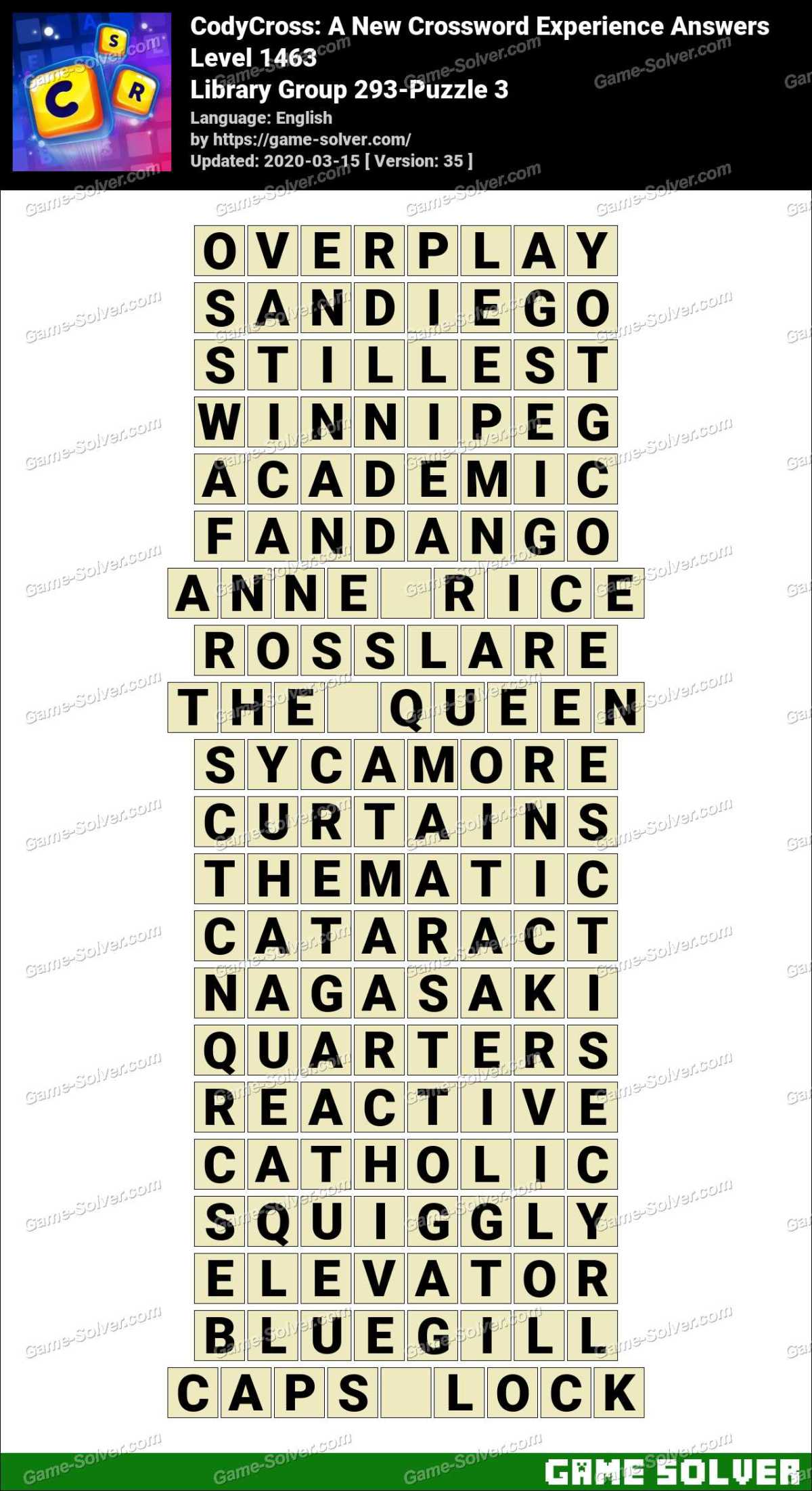 CodyCross Library Group 293-Puzzle 3 Answers