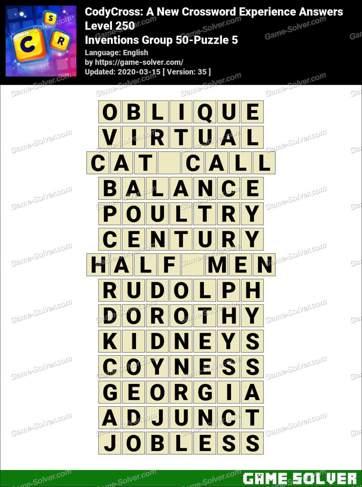CodyCross Inventions Group 50-Puzzle 5 Answers