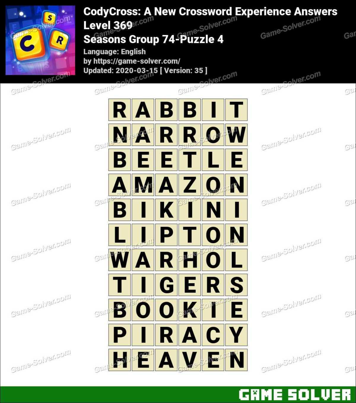 CodyCross Seasons Group 74-Puzzle 4 Answers