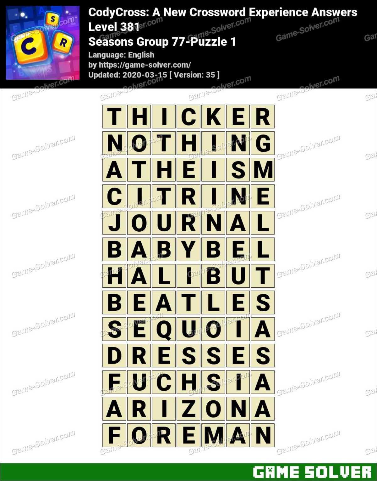 CodyCross Seasons Group 77-Puzzle 1 Answers